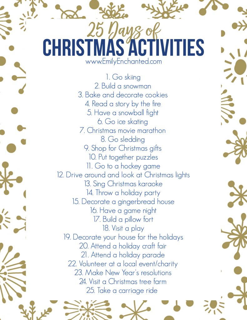 25 Days Of Christmas Activities Printable | Free Printable - Free Printable Christmas Activities