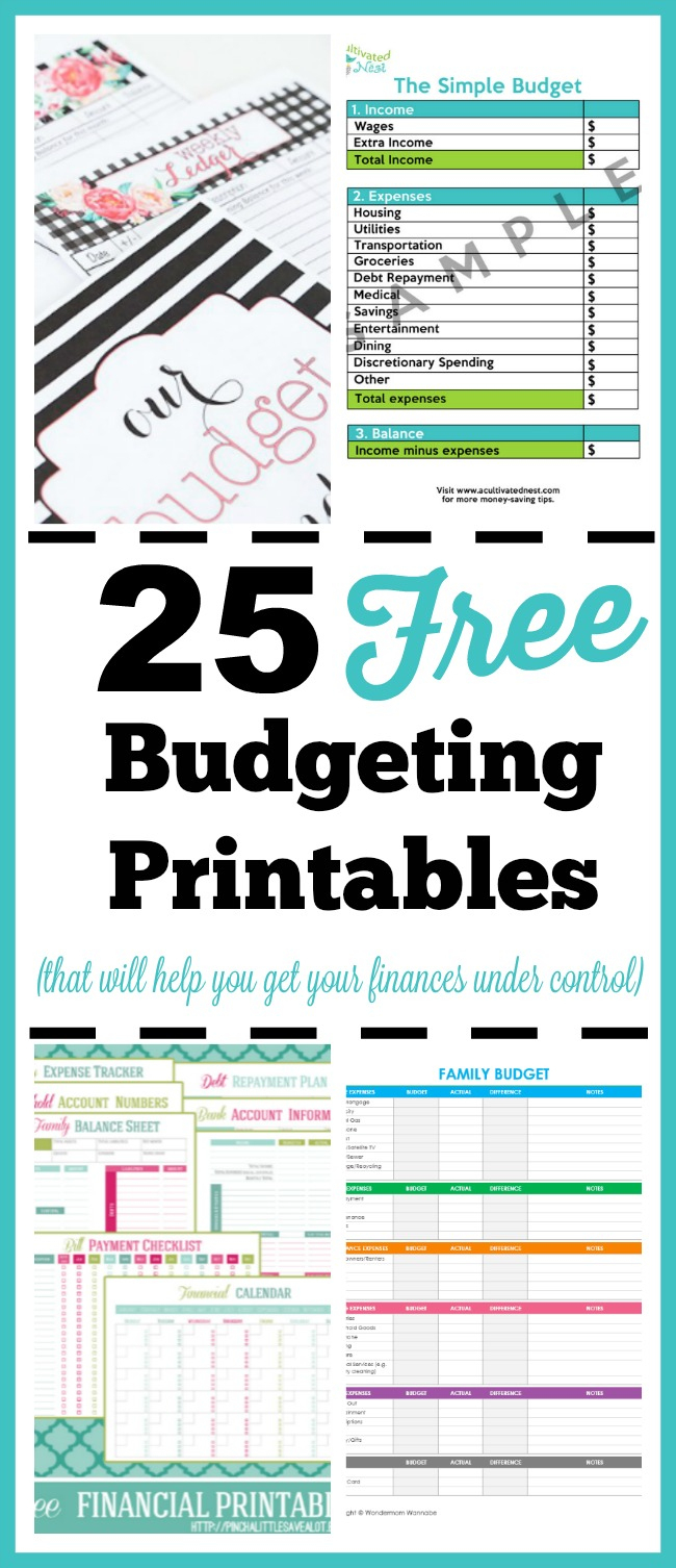 25 Free Budgeting Printables- Take Control Of Your Finances! - Free Printable Financial Binder