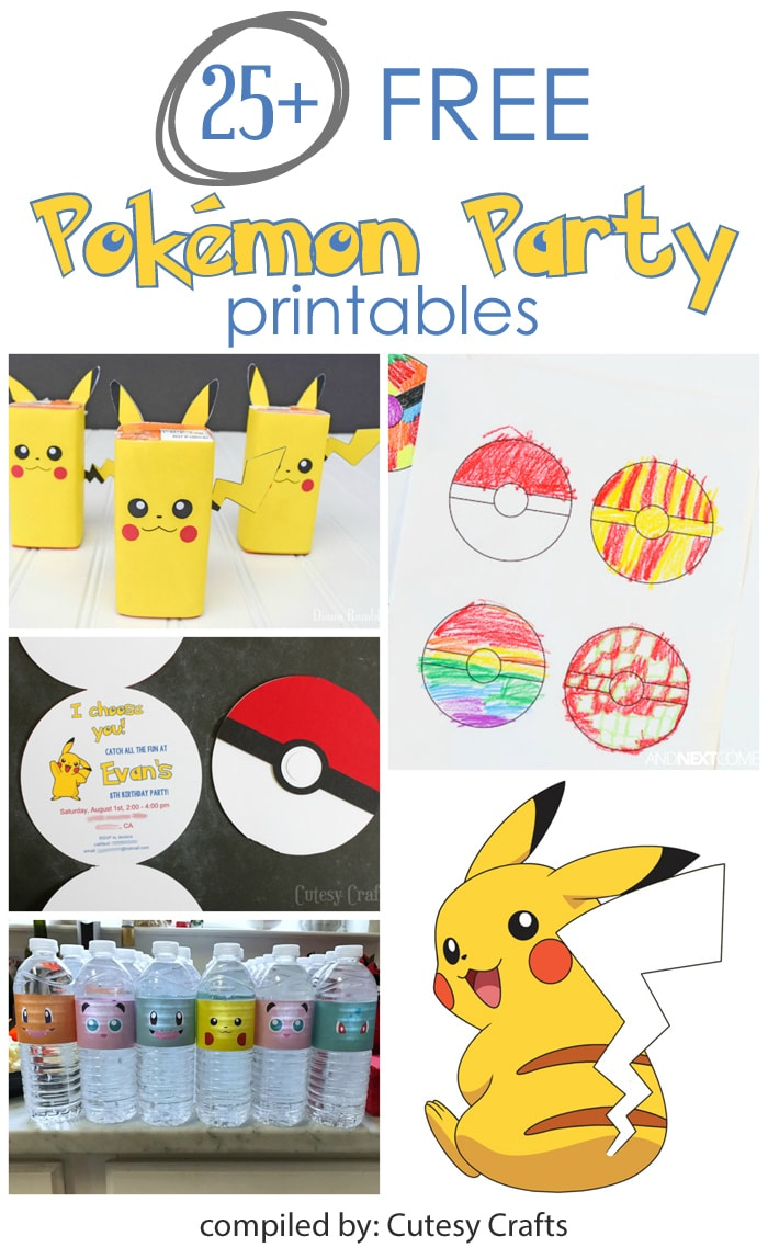 25+ Free Pokemon Party Printables - Cutesy Crafts - Pokemon Invitations Printable Free