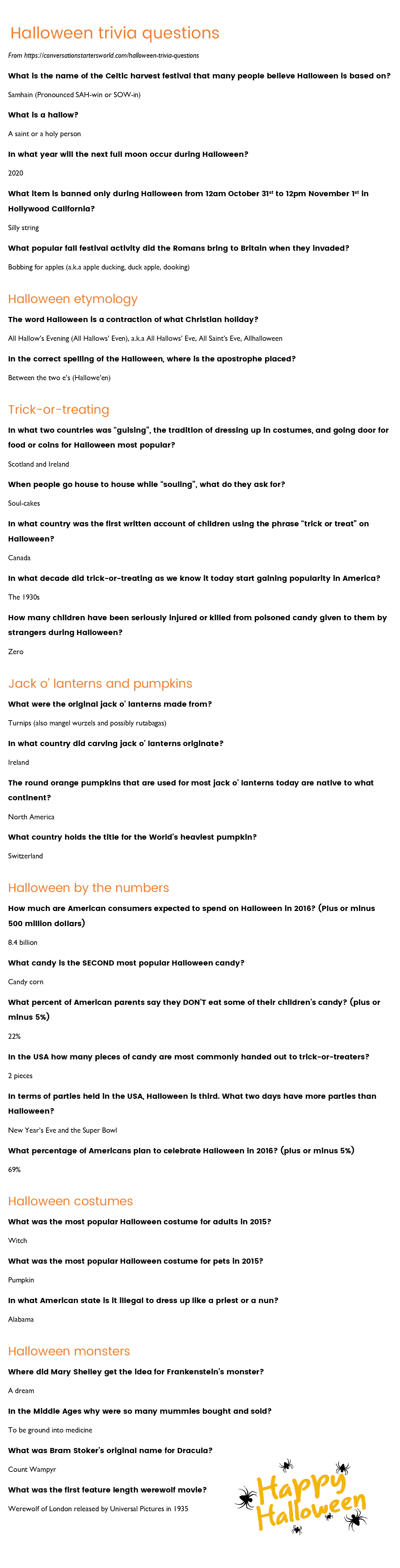 29 Challenging Halloween Trivia Questions - How Many Can You Answer? - Free Bible Questions And Answers Printable
