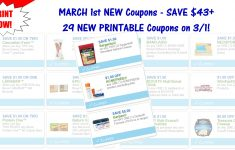 29 New Printable Coupons ~ March 1St New Coupons! – Acne Free Coupons Printable