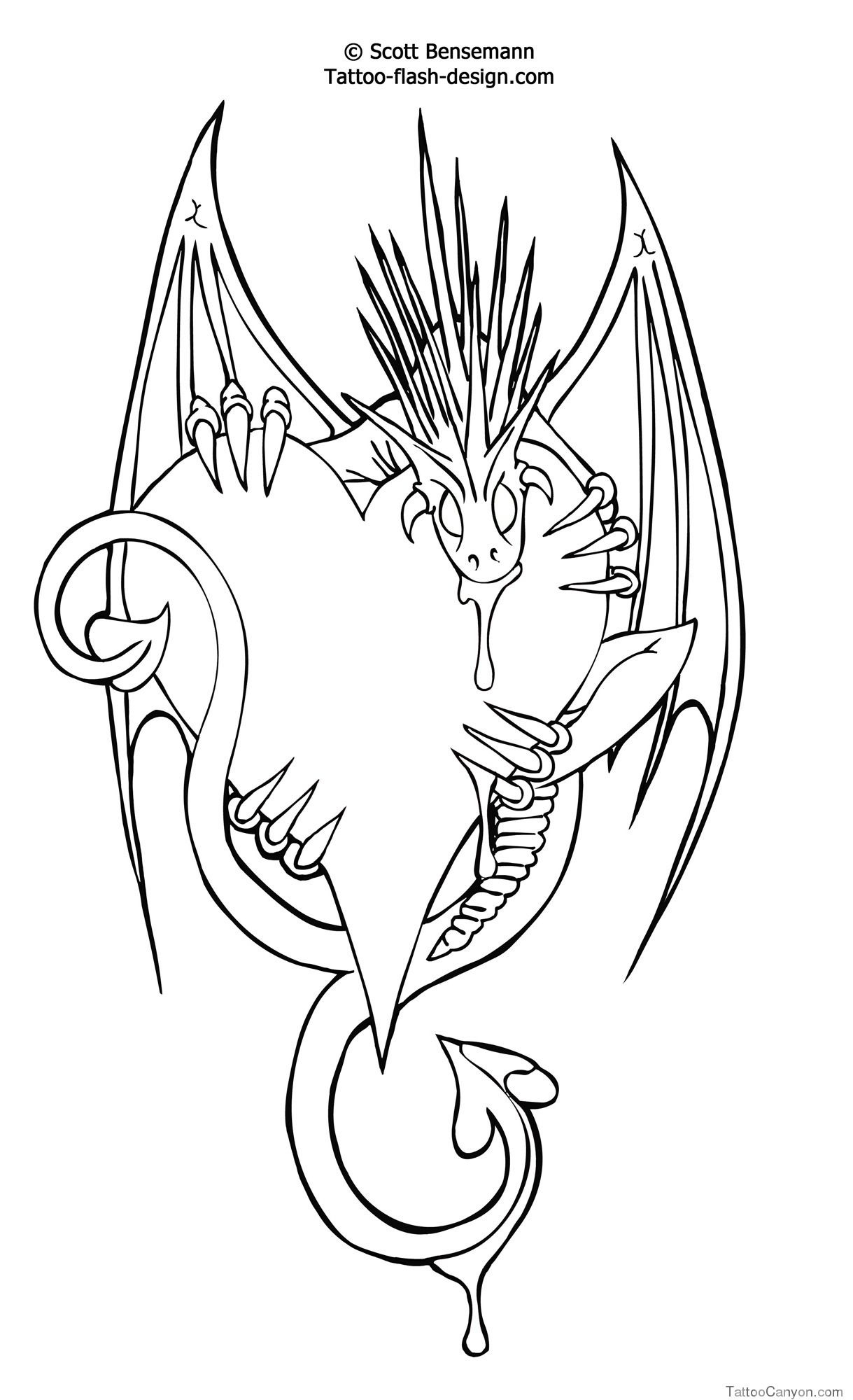 2935-Love-Heart-Dragon-Design-Free-Flash-Printable-Tattoo--Tattoo - Free Printable Flash Tattoo