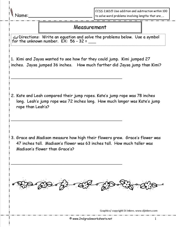 Free Printable Word Problems 2Nd Grade
