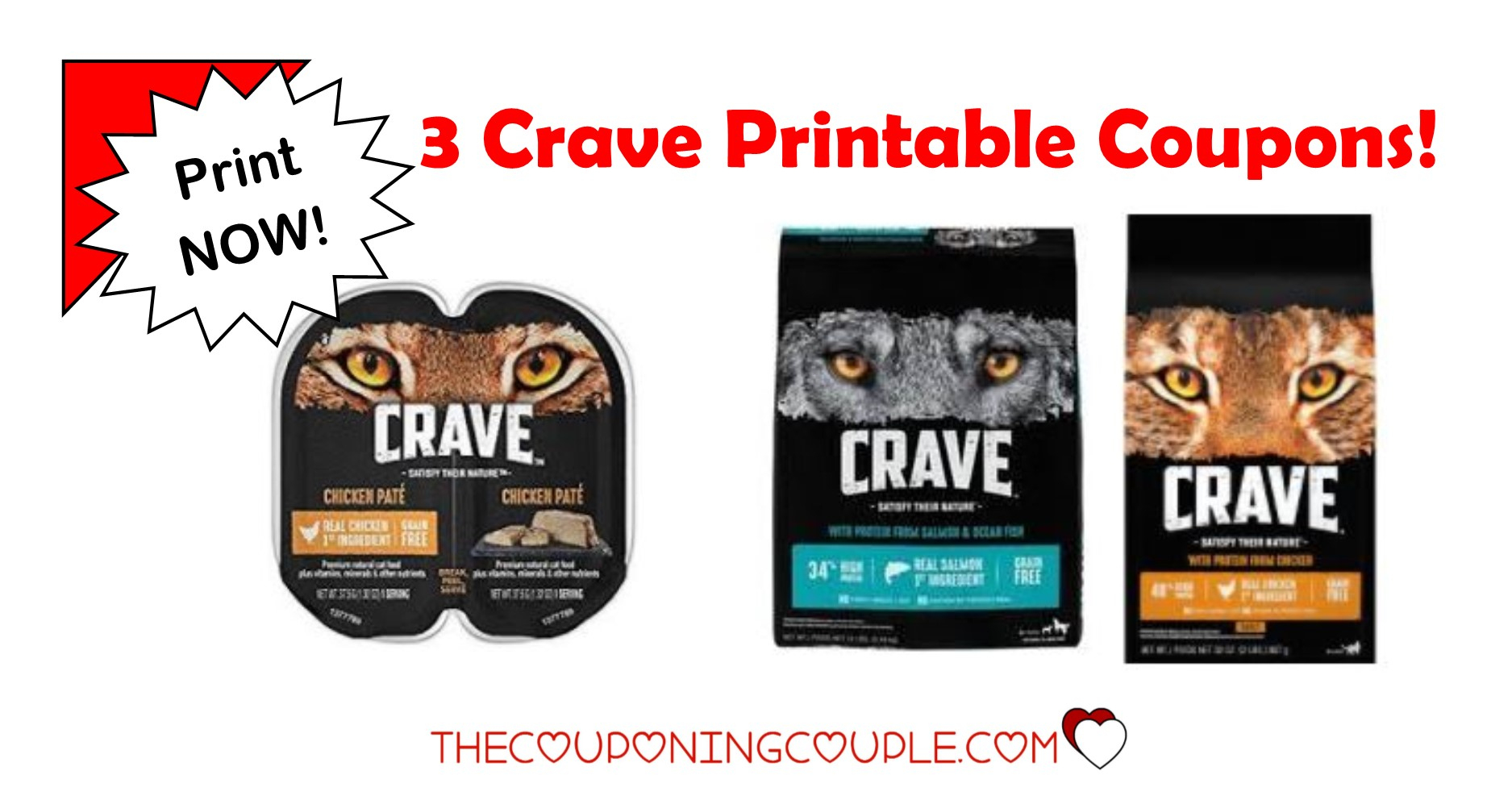 3 Crave Pet Food Printable Coupons ~ Dog And Cat Food! - Free Printable Dog Food Coupons