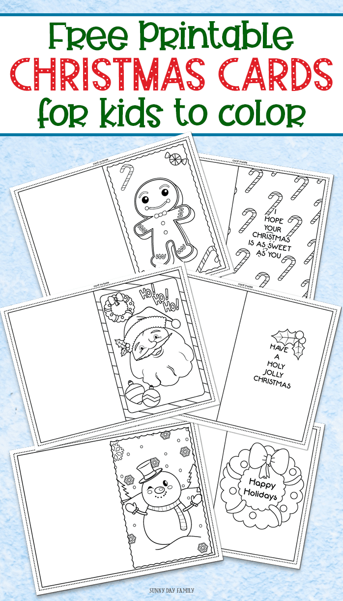 3 Free Printable Christmas Cards For Kids To Color   Sunny Day - Christmas Cards For Grandparents Free Printable