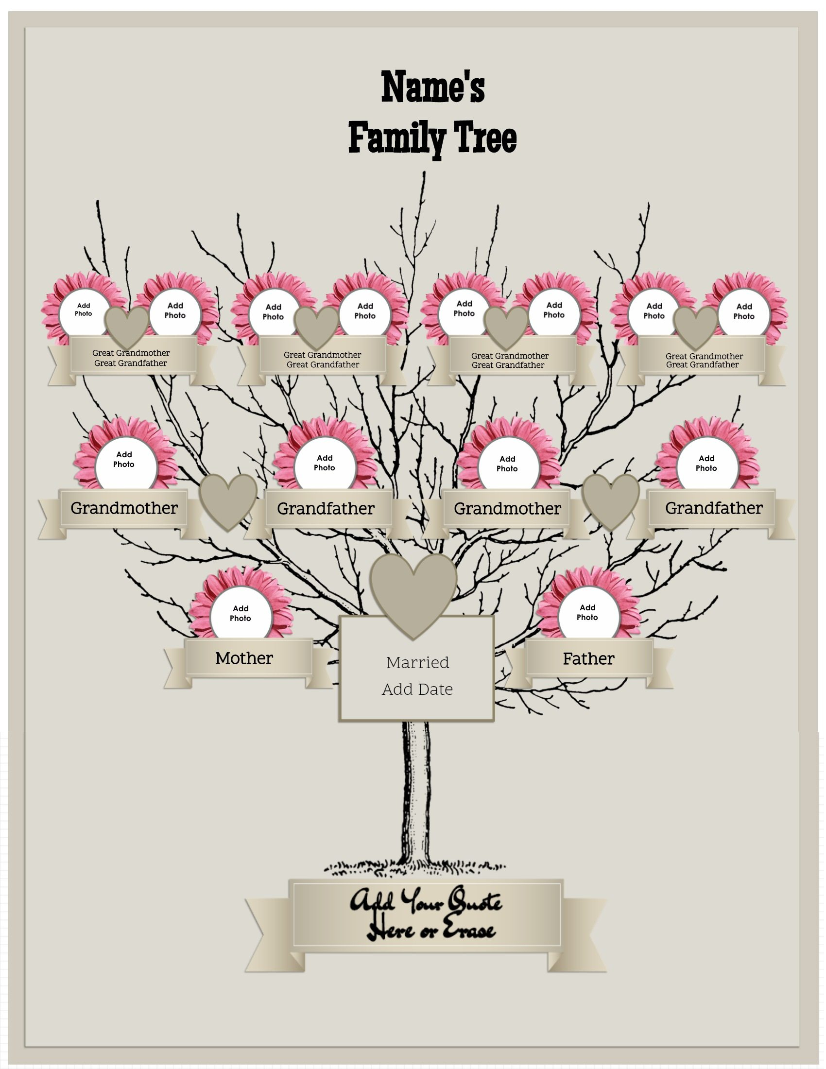 3 Generation Family Tree Generator | All Templates Are Free To Customize - Family Tree Maker Online Free Printable