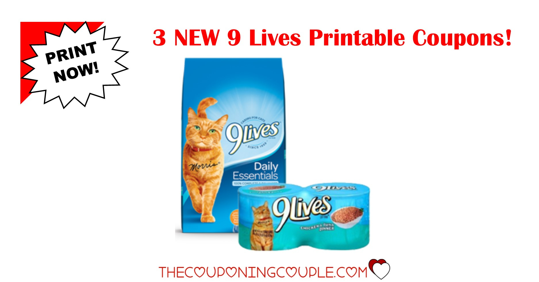 3 New 9 Lives Printable Coupons ~ Print Now! - Free Printable 9 Lives Cat Food Coupons