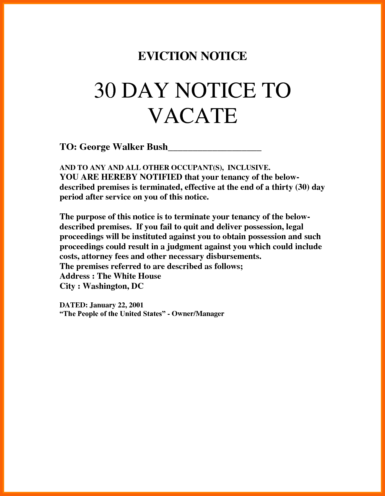 30 Day Eviction Notice Template | Bravebtr - Free Printable Blank Eviction Notice