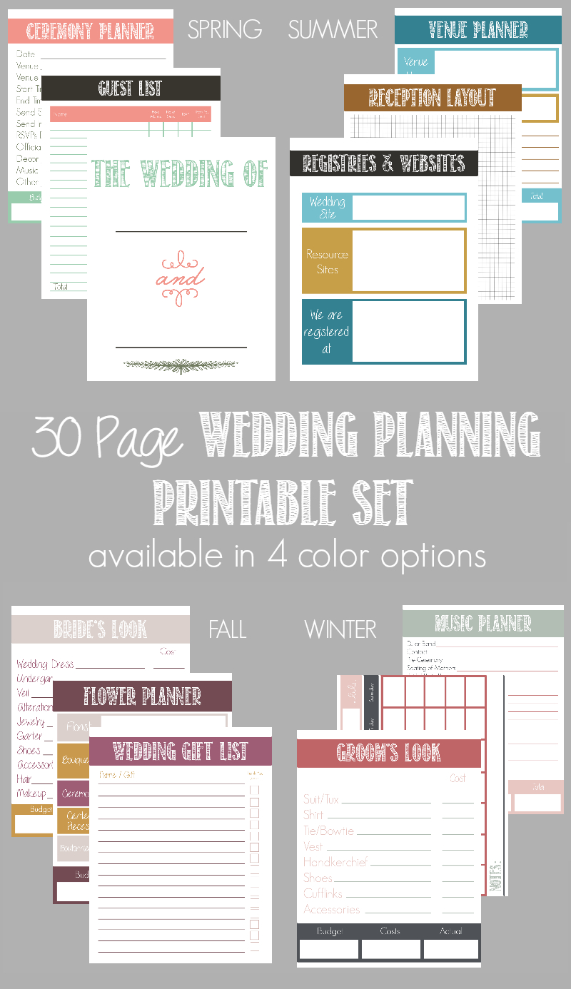 30 Page Wedding Planning Printable Set (Available In 4 Color Options - Free Printable Wedding Planner Book