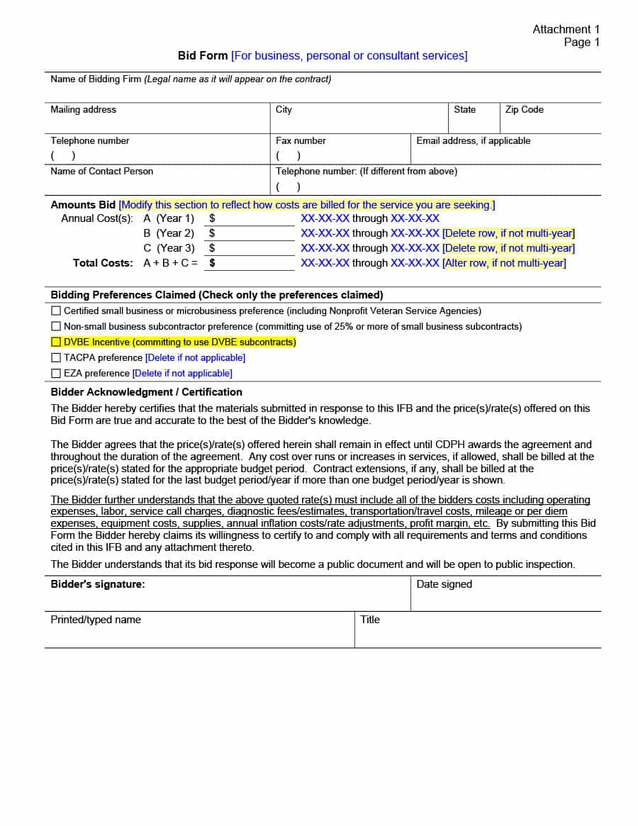31 Construction Proposal Template & Construction Bid Forms - Free Printable Proposal Forms