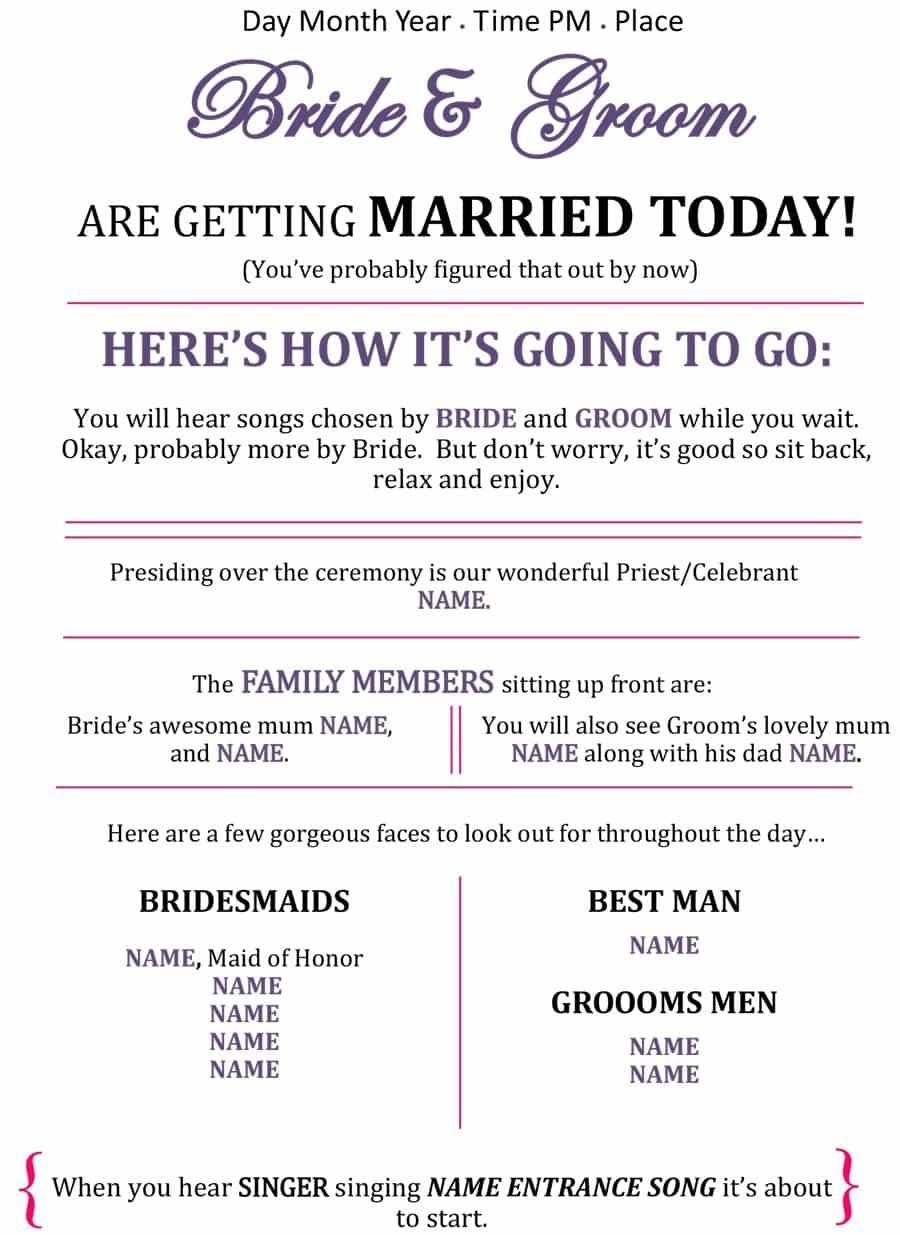 37 Printable Wedding Program Examples & Templates - Template Lab - Free Printable Wedding Programs