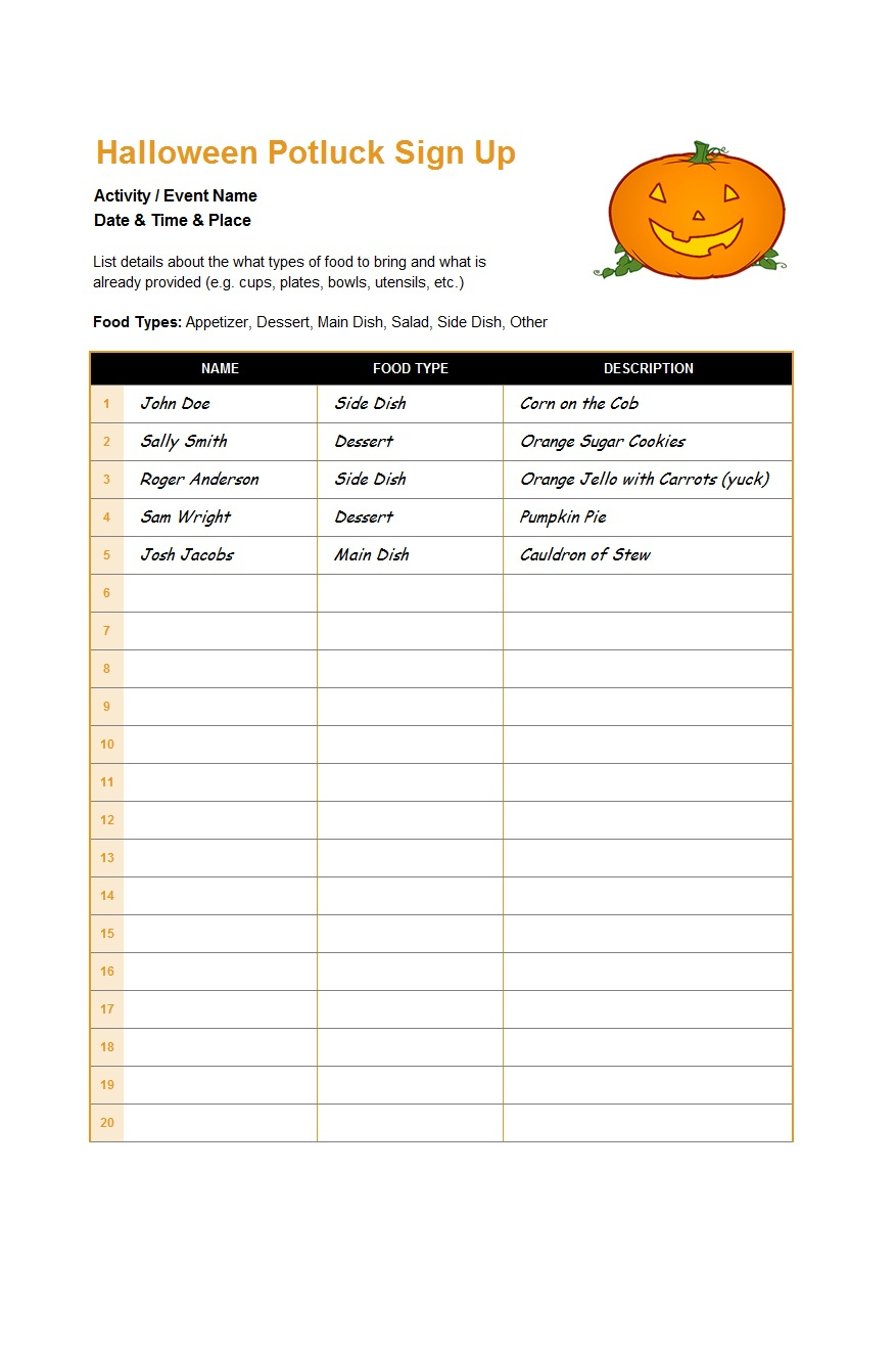38 Best Potluck Sign-Up Sheets (For Any Occasion) - Template Lab - Free Printable Sign Up Sheets For Potlucks