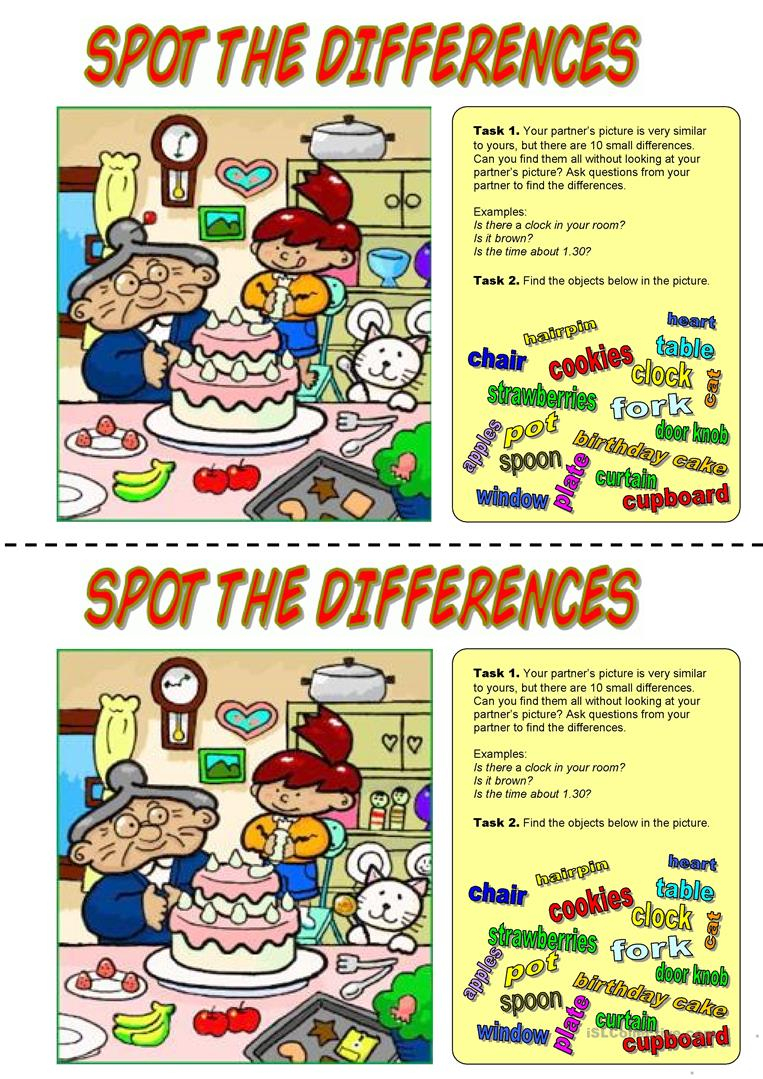 39 Free Esl Spot The Difference Worksheets - Free Printable Spot The Difference Worksheets