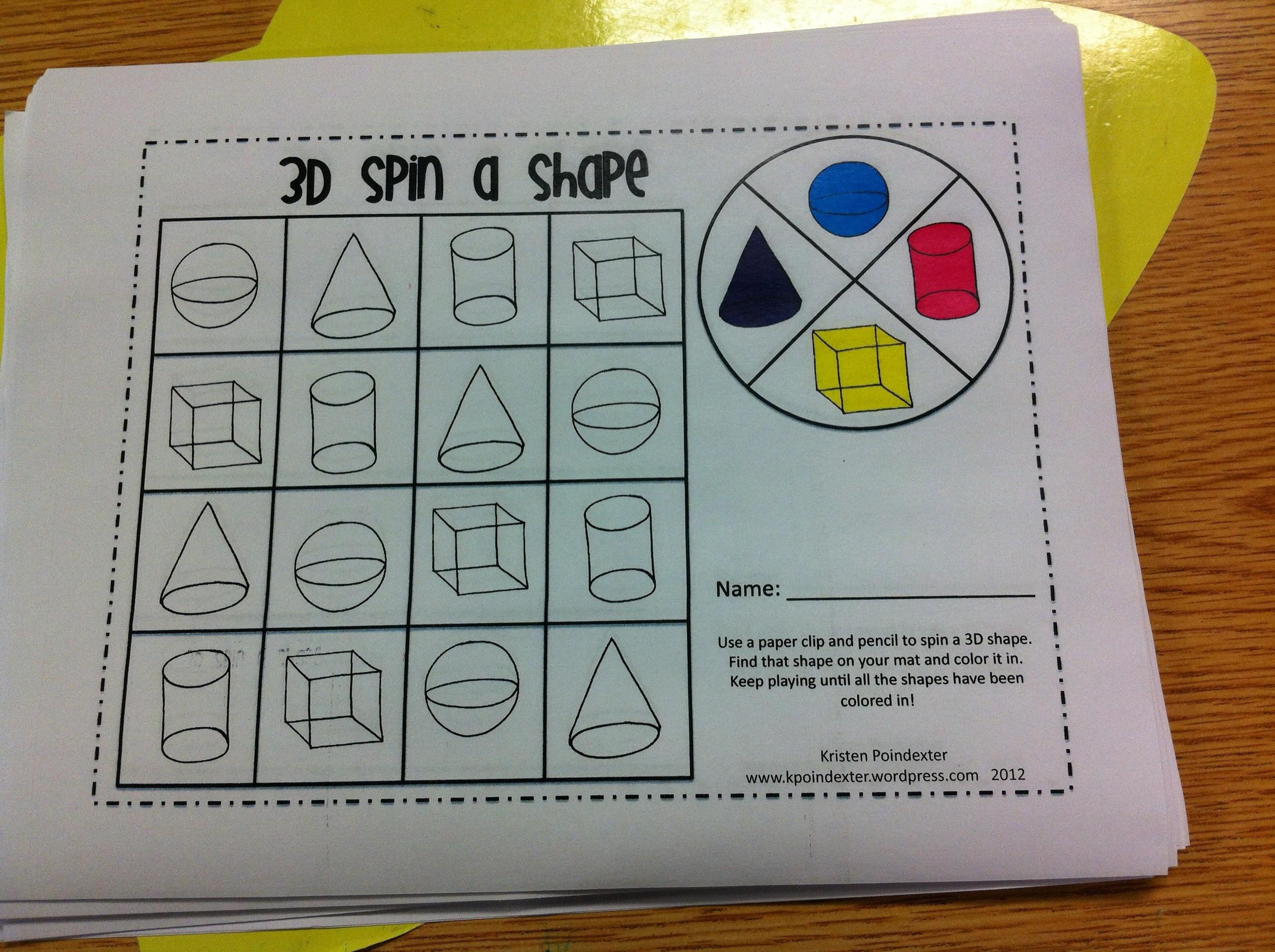 3D Shapes | Kristen's Kindergarten - 3D Shape Bingo Free Printable