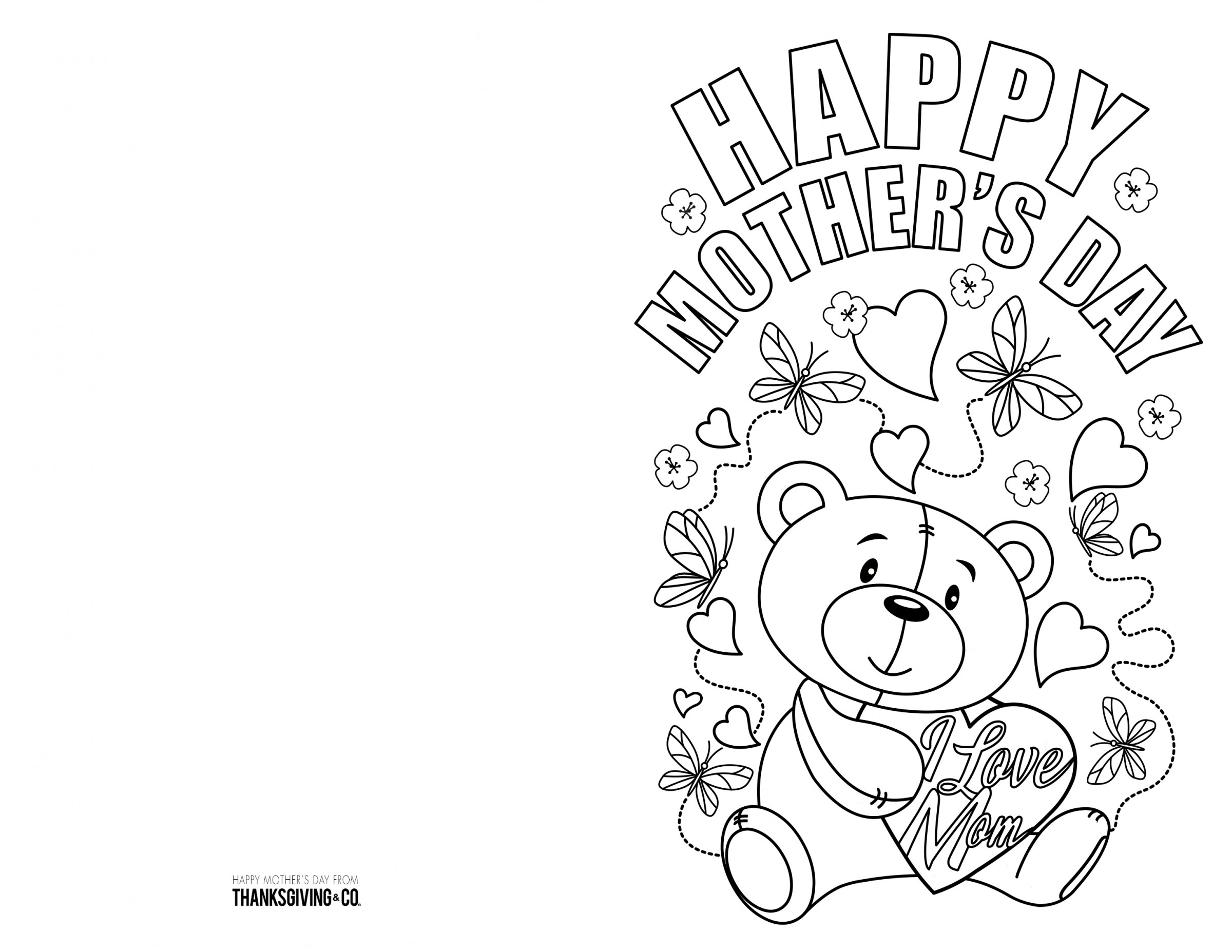 4 Free Printable Mother's Day Ecards To Color - Thanksgiving - Free Printable Cards To Color