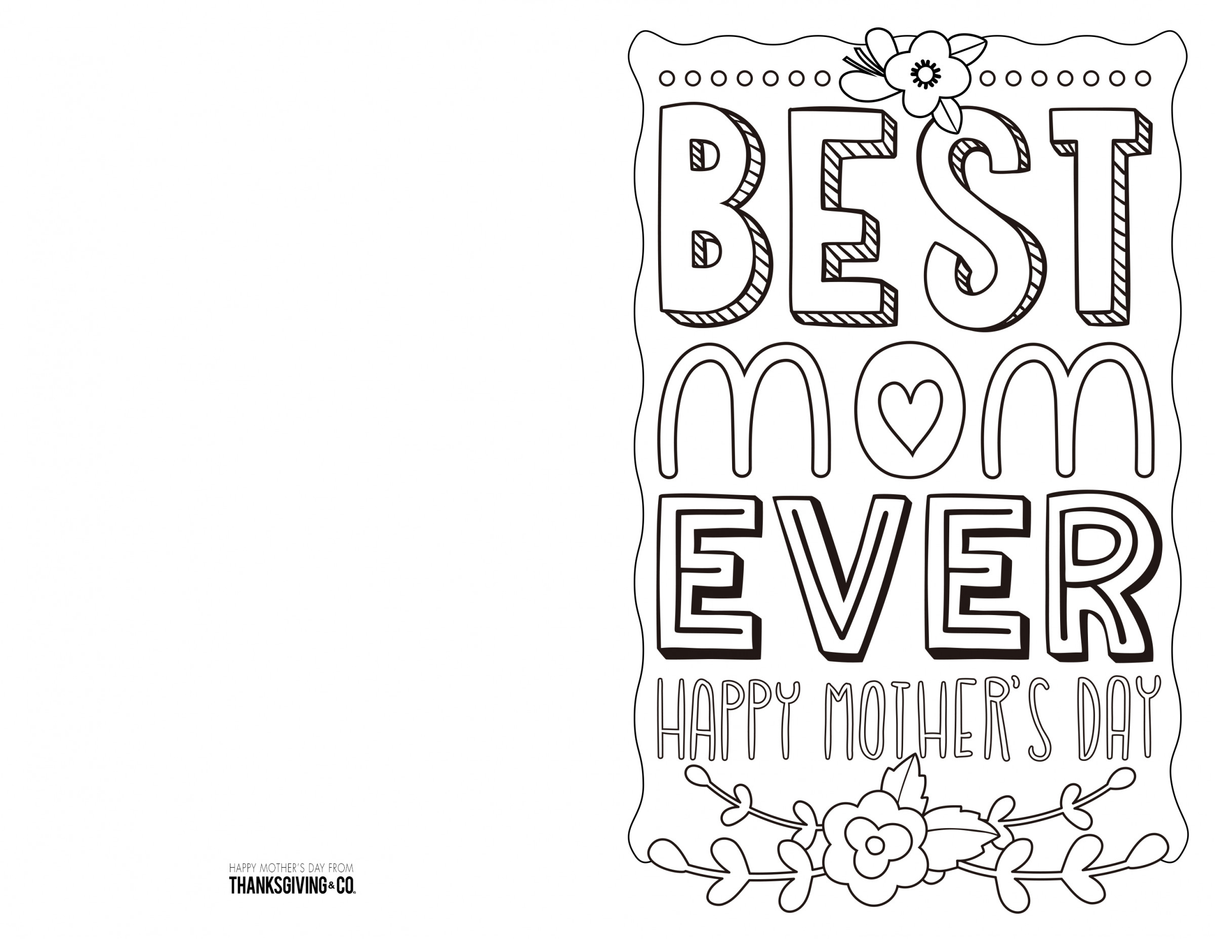 4 Free Printable Mother's Day Ecards To Color - Thanksgiving - Free Printable Mothers Day Cards