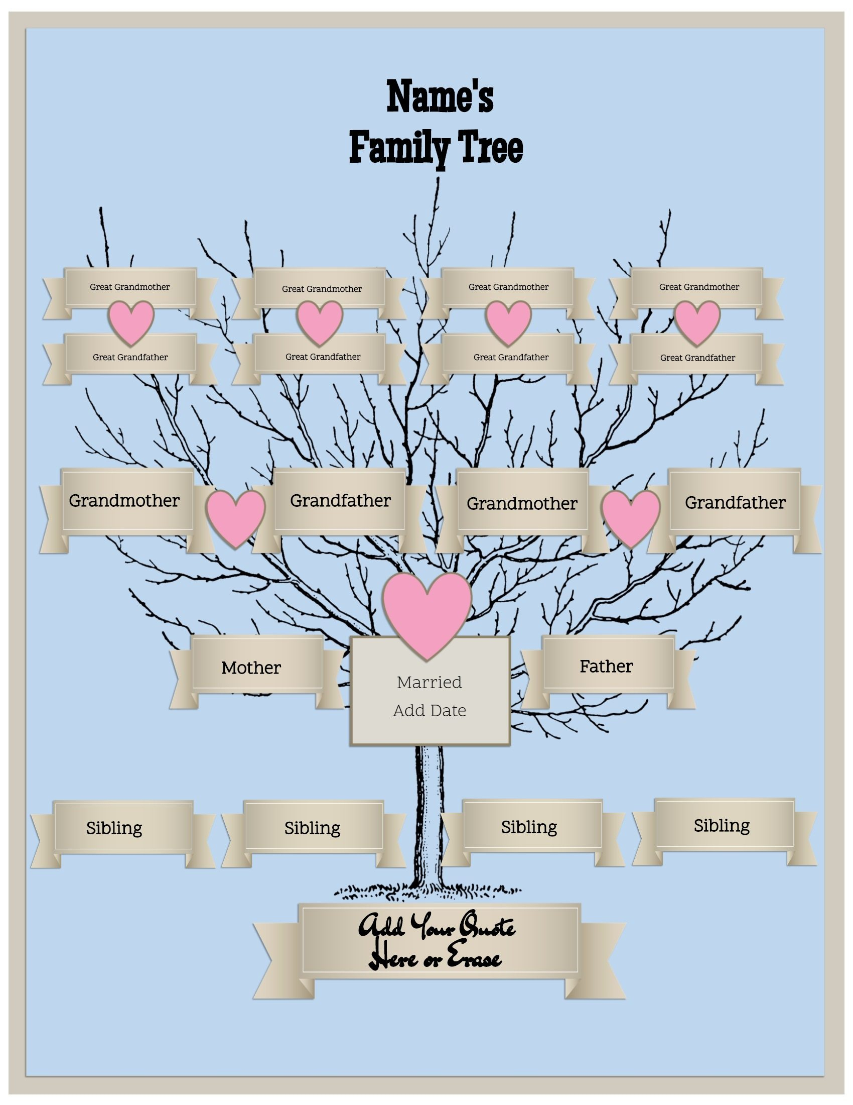 4 Generation Family Tree Template Free To Customize & Print - Free Printable Family Tree Template 4 Generations