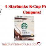 4 New Starbucks K Cup Pods Printable Coupons ~ Save $7.75!   Free Starbucks Coupon Printable