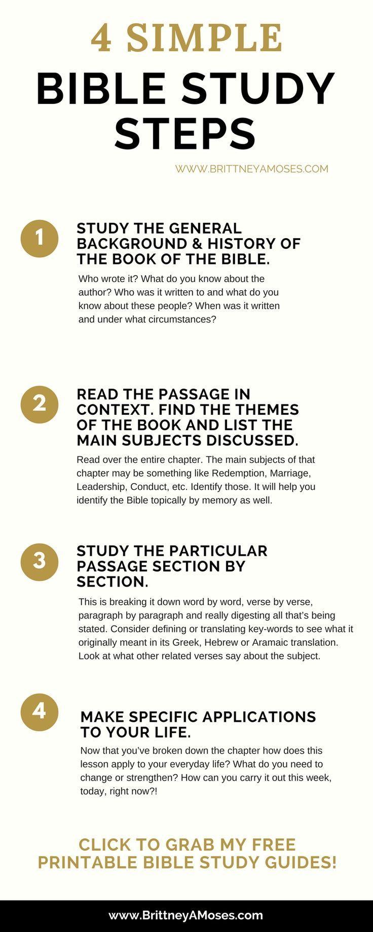 4 Simple Bible Study Steps   God's Word   Pinterest   Bible, Bible - Free Printable Bible Study Guides