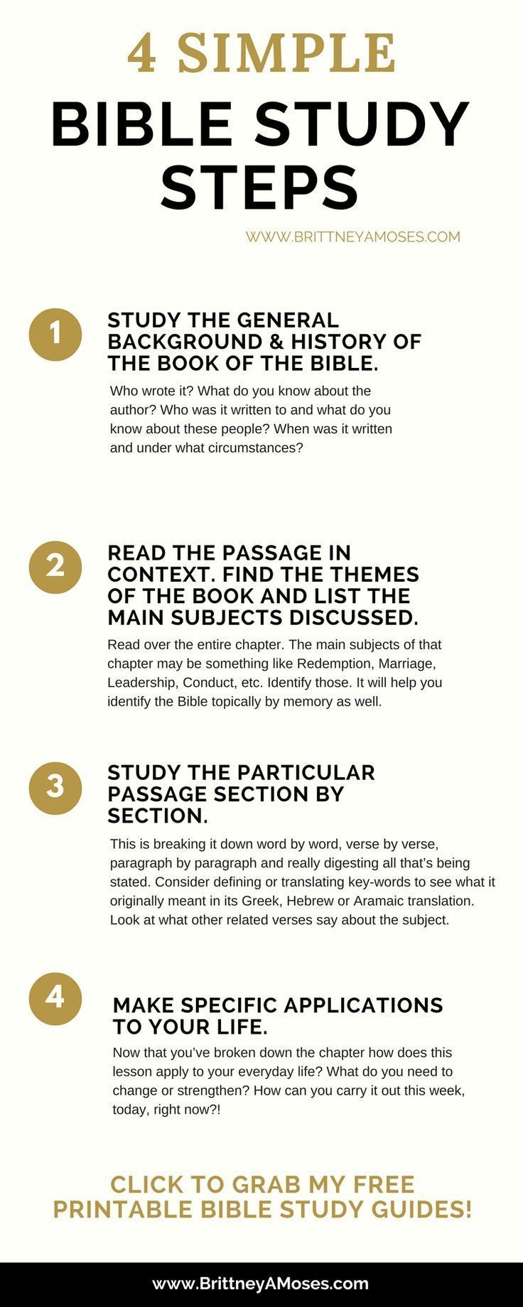 4 Simple Bible Study Steps | How To Study The Bible | Pinterest - Free Printable Bible Study Lessons For Adults