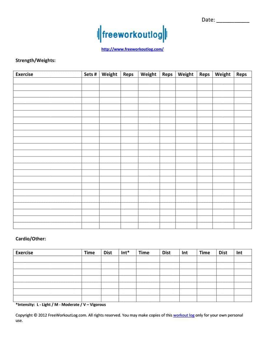 40+ Effective Workout Log & Calendar Templates ᐅ Template Lab - Free Printable Workout Log Template