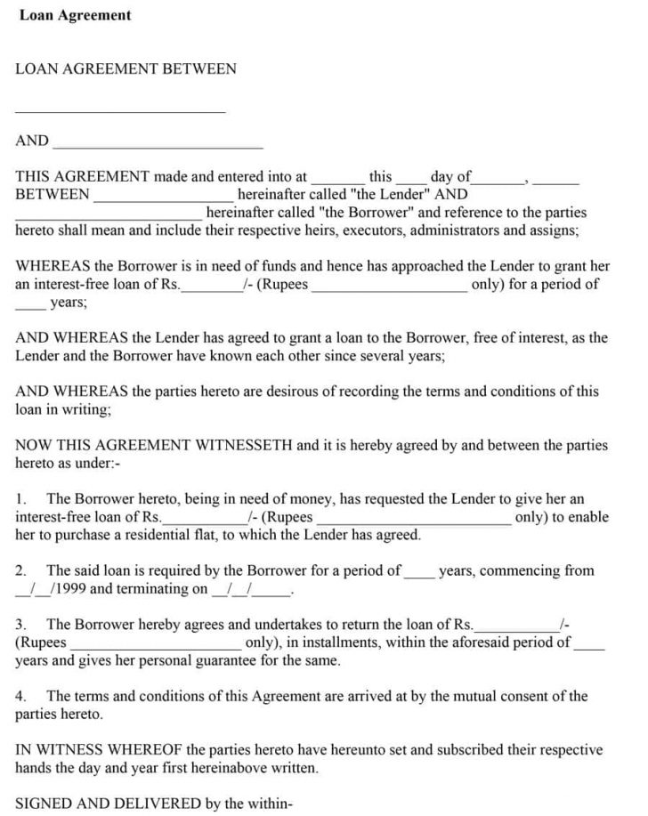 Free Printable Blank Loan Agreement