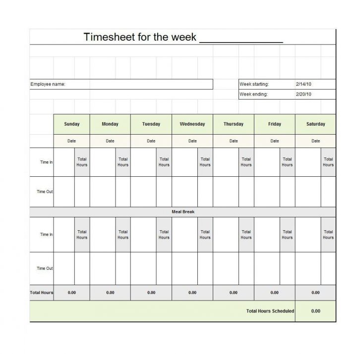 Monthly Timesheet Template Free Printable