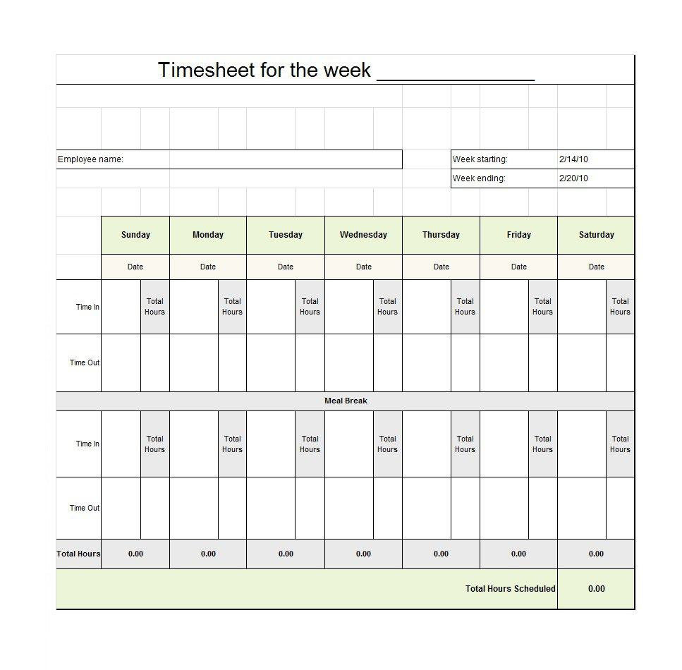 40 Free Timesheet / Time Card Templates ᐅ Template Lab - Monthly Timesheet Template Free Printable