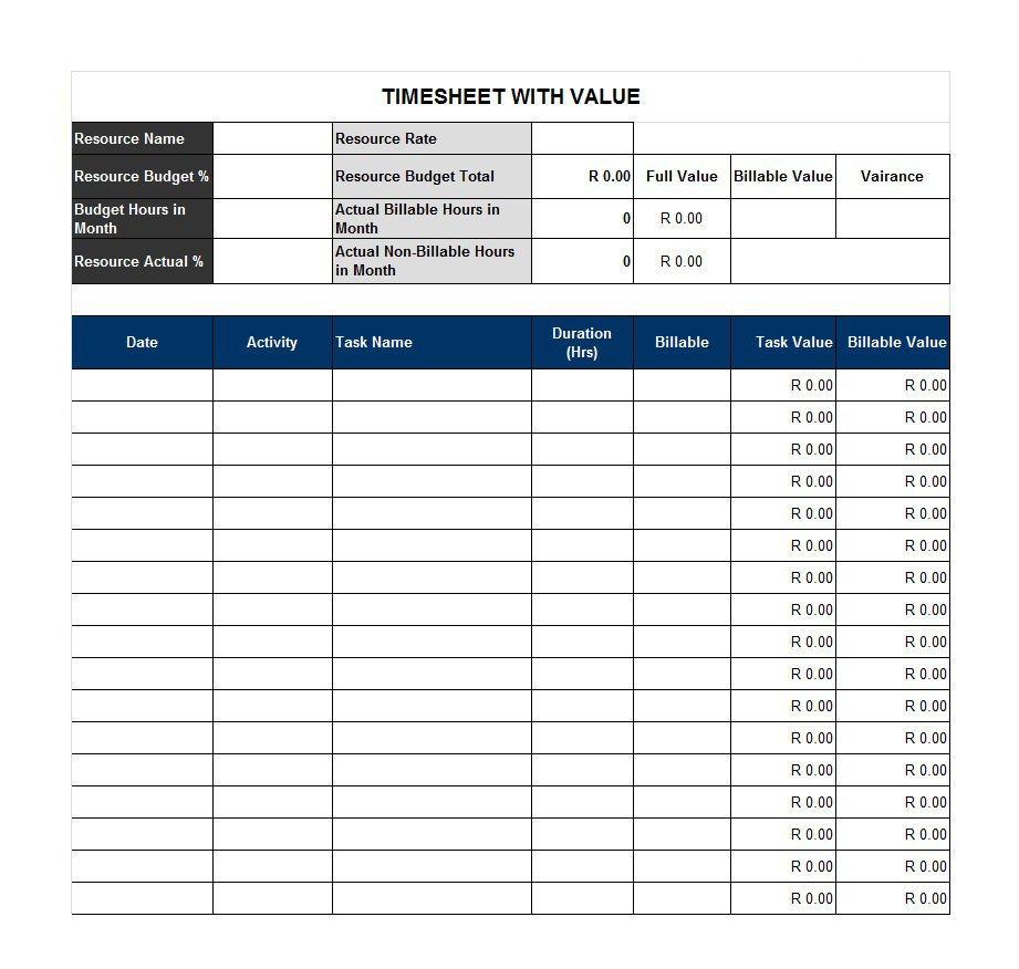 40 Free Timesheet / Time Card Templates ᐅ Template Lab - Monthly Timesheet Template Free Printable