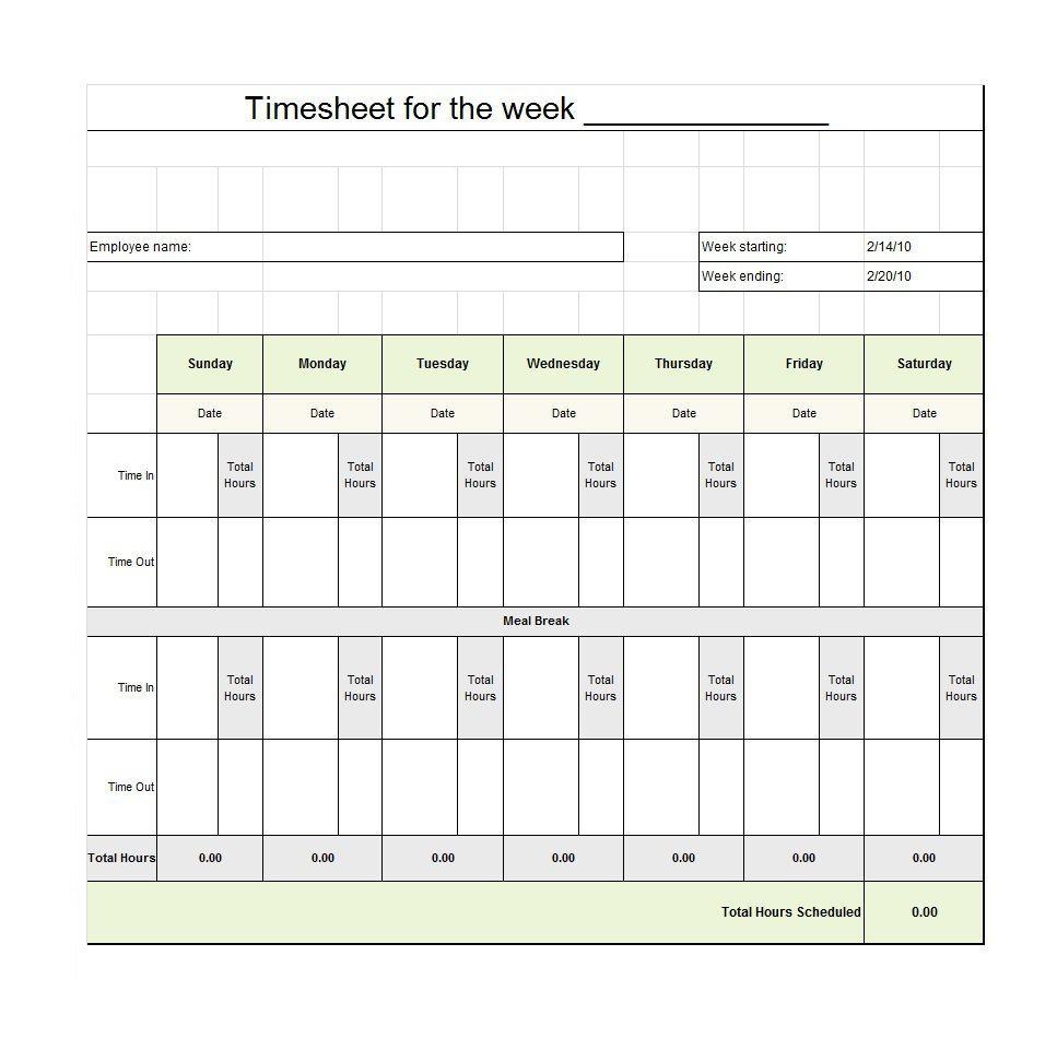 40 Free Timesheet / Time Card Templates - Template Lab - Timesheet Template Free Printable