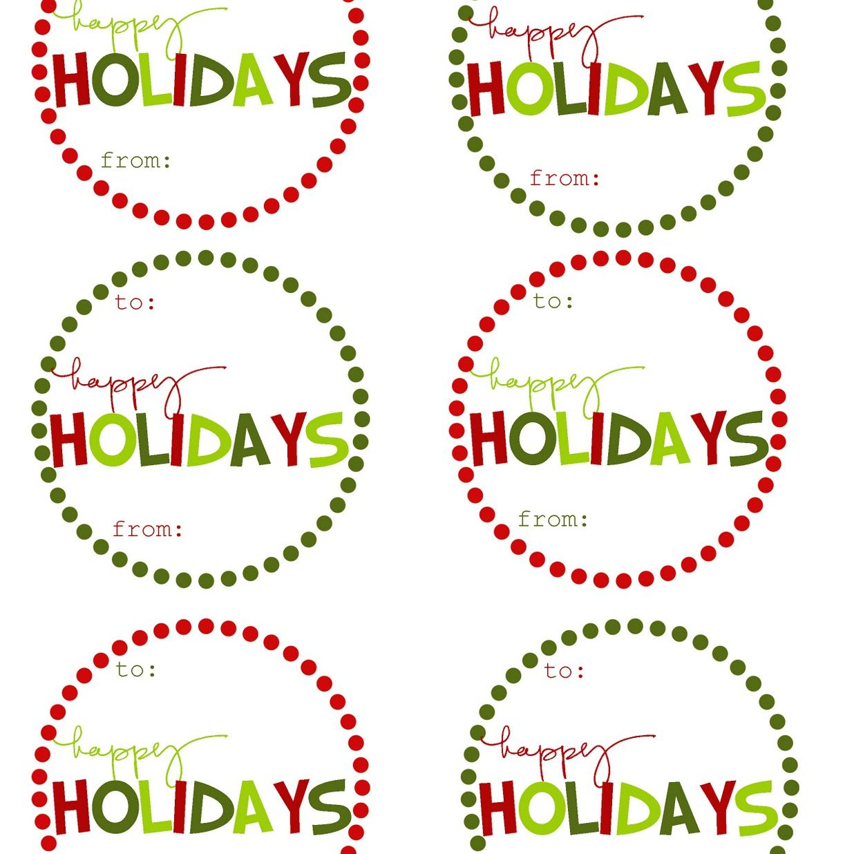 40 Sets Of Free Printable Christmas Gift Tags - Free Printable To From Gift Tags