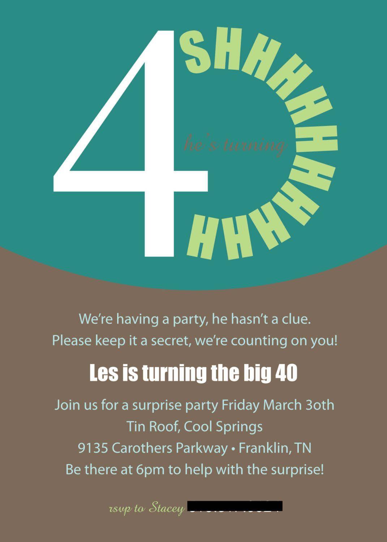 40Th Surprise Birthday Invitations Printable | Free Printable - Free Printable Surprise 40Th Birthday Party Invitations