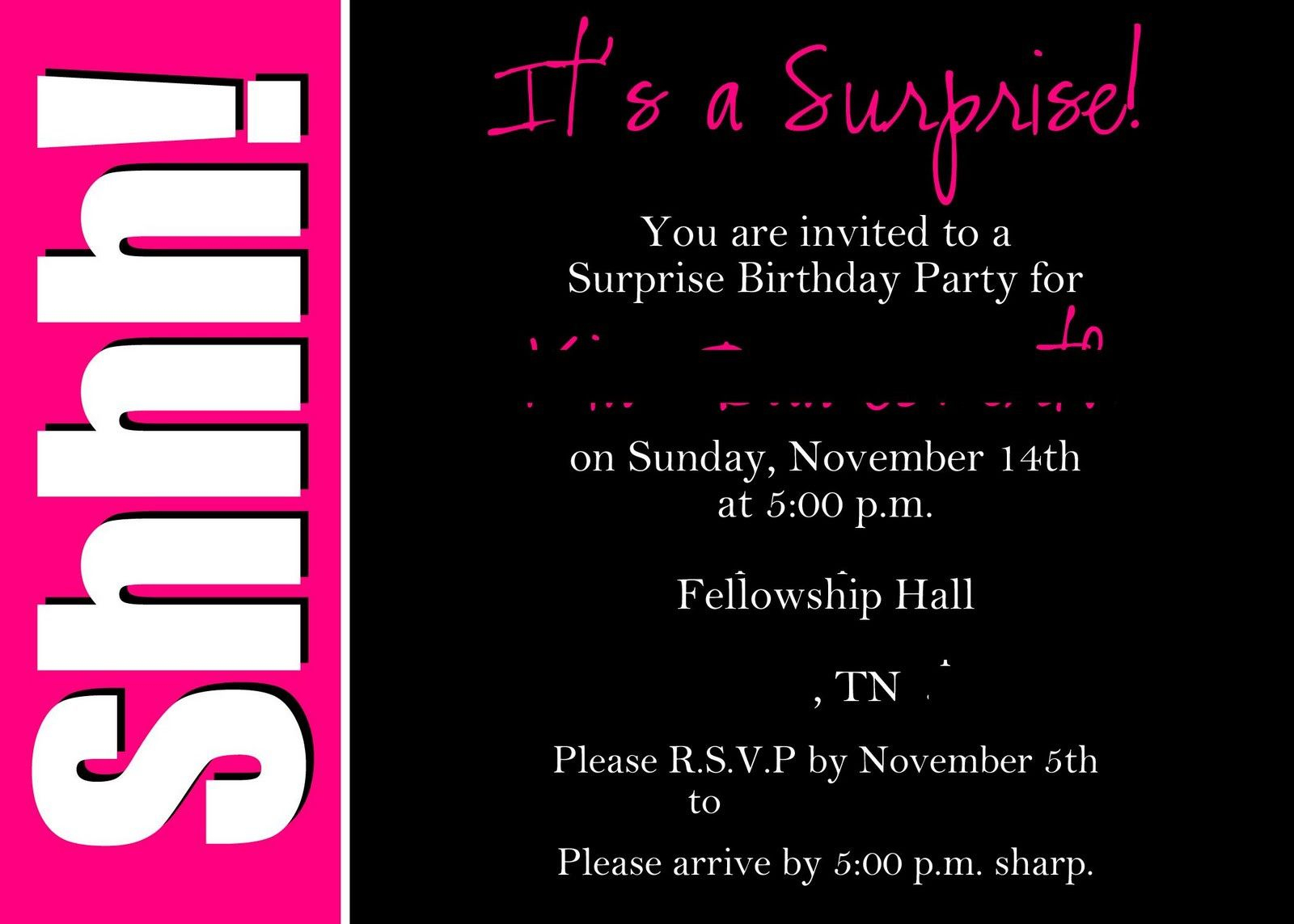40Th Surprise Birthday Party | Free Printable Birthday Invitation - Free Printable Surprise 40Th Birthday Party Invitations