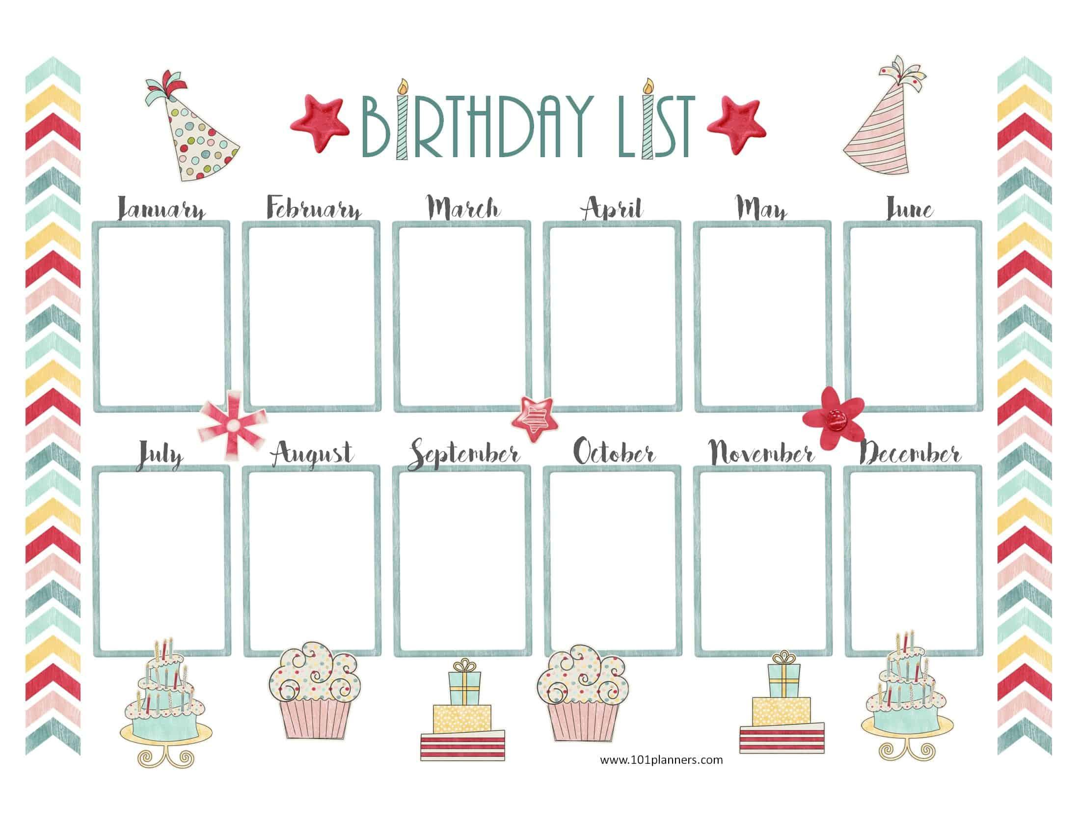 43. Birthday Chart In A Zebra Print Editableplanet Happy Smiles - Free Printable Birthday Graph
