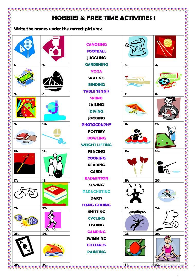 439 Free Esl Hobbies Worksheets - Free Printable Esl Resources