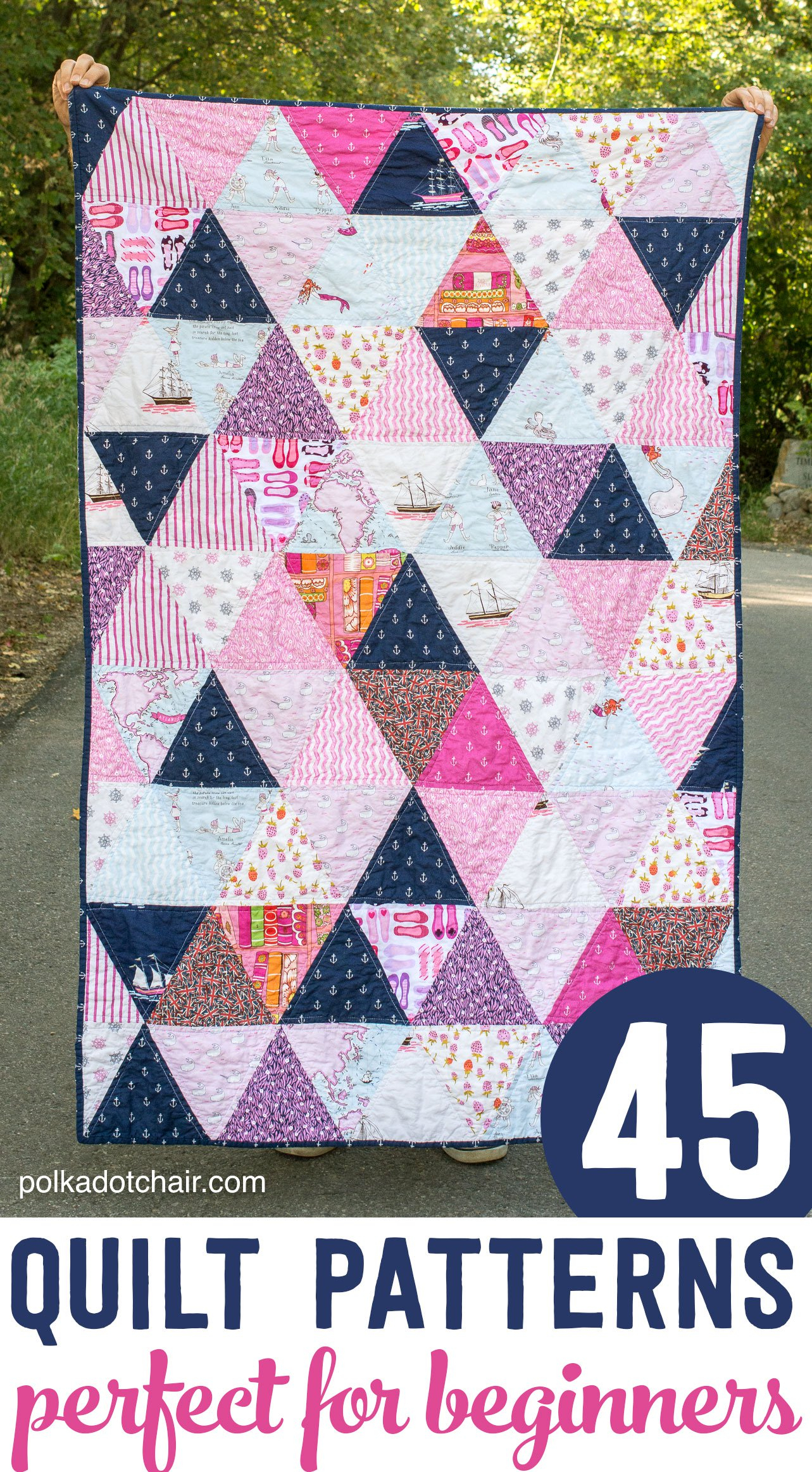 45+ Easy Beginner Quilt Patterns And Free Tutorials   Polka Dot Chair - Quilt Patterns Free Printable