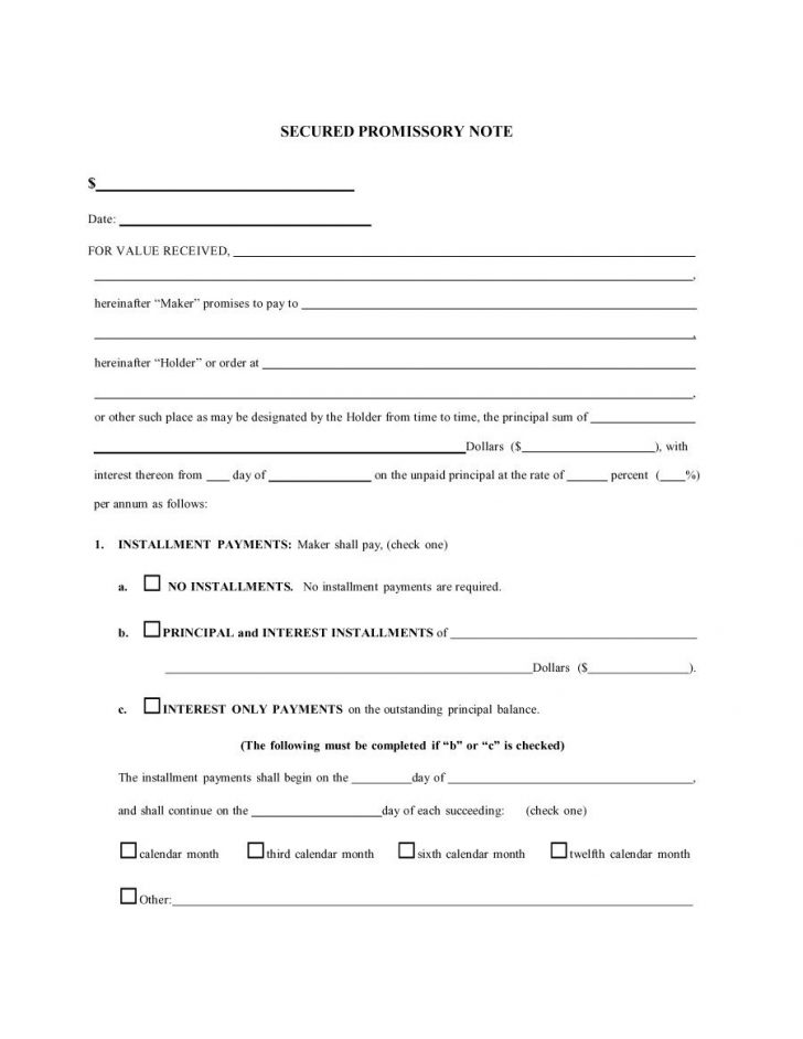 Free Printable Promissory Note For Personal Loan