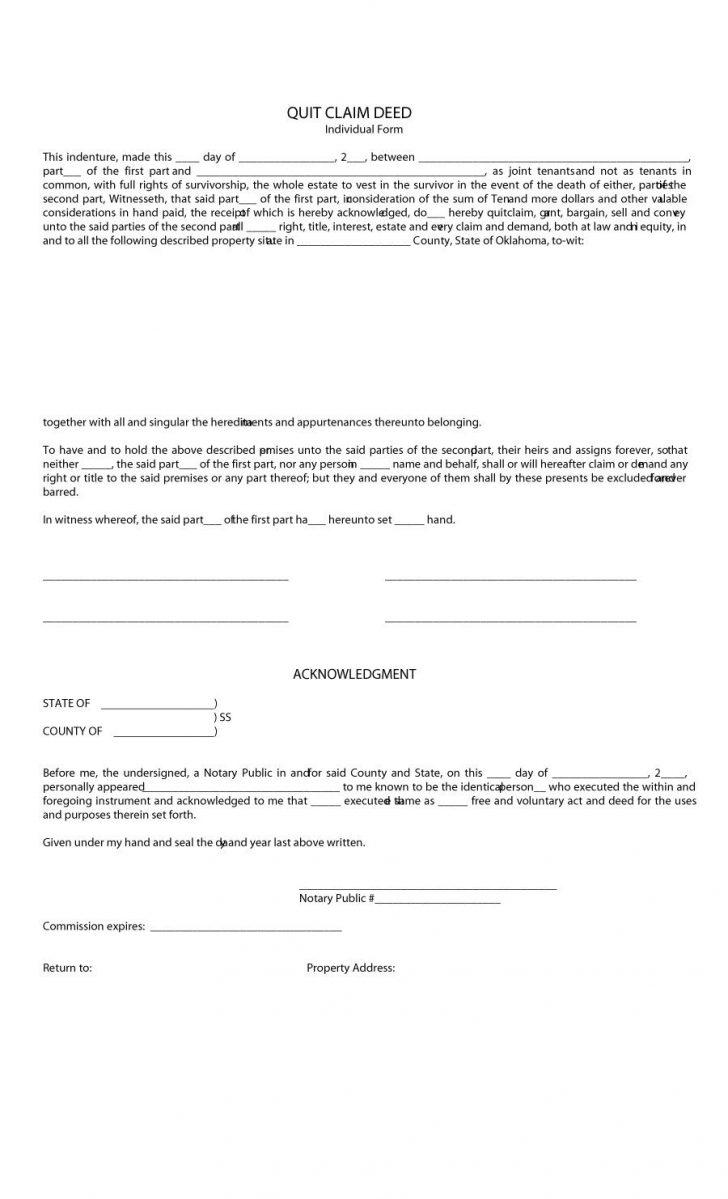 Free Printable Quit Claim Deed Form