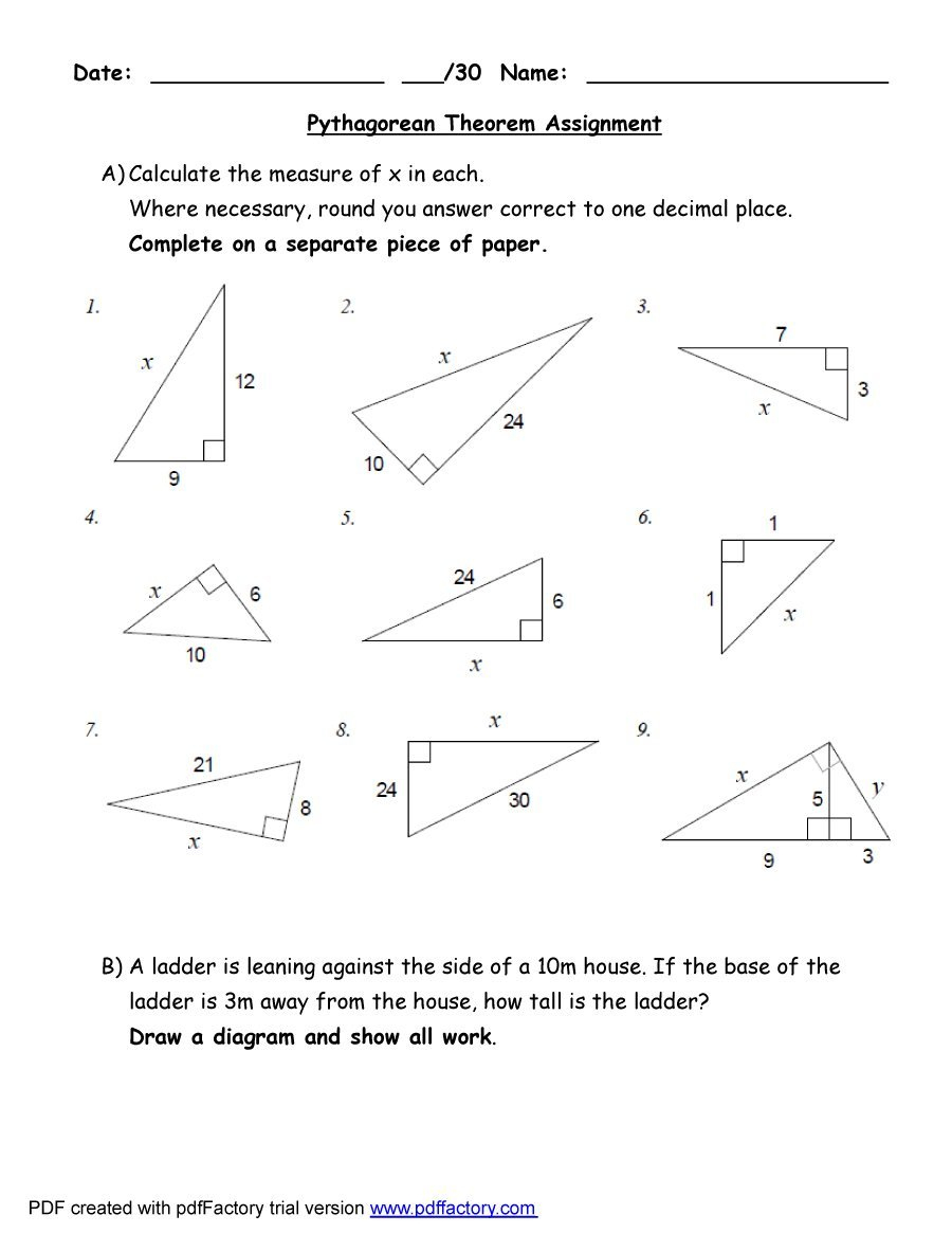 48 Pythagorean Theorem Worksheet With Answers [Word + Pdf] - Free Printable Pythagorean Theorem Worksheets