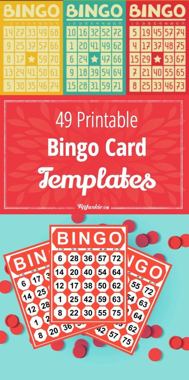 49 Printable Bingo Card Templates | Monthly Ministry Ideas | Bingo - Free Printable Number Bingo Cards 1 20