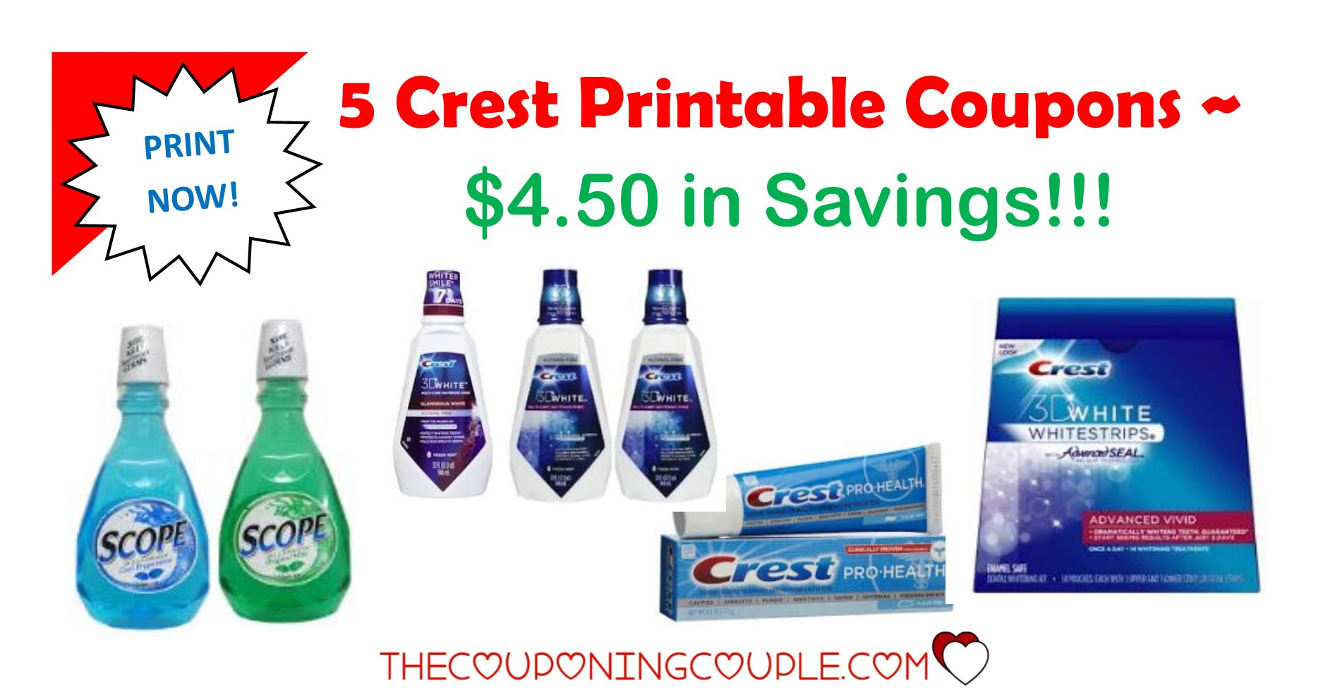5 Crest Printable Coupons ~ $4.50 In Savings! Print Now!! - Free Printable Crest Coupons