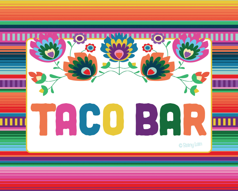 5 Fiesta Printable Signs Serape Blanket Graduation Party 1St | Etsy - Free Printable Taco Bar Signs
