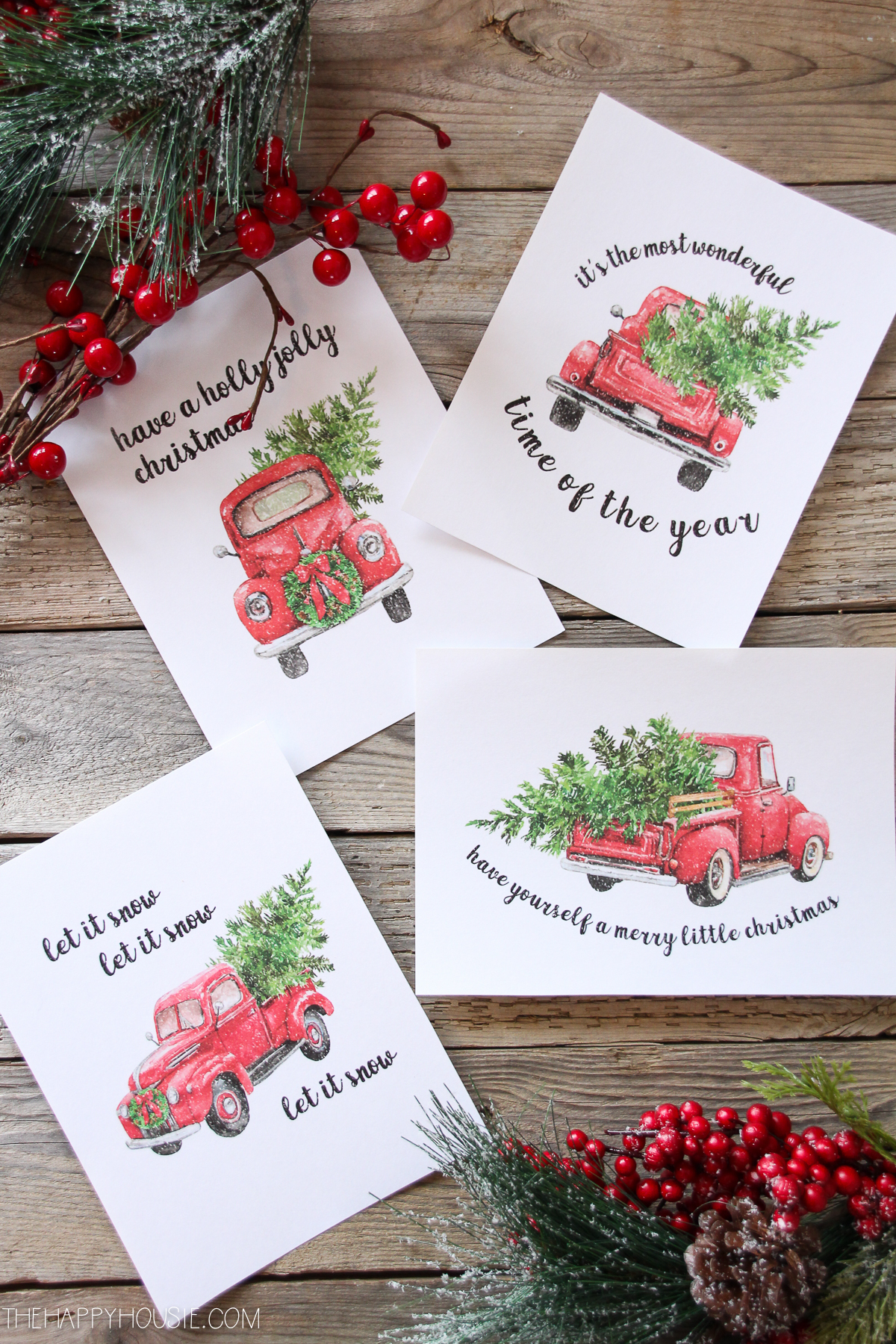 5 Free Vintage Truck Christmas Printables | The Happy Housie - Free Printable Vintage Christmas Pictures