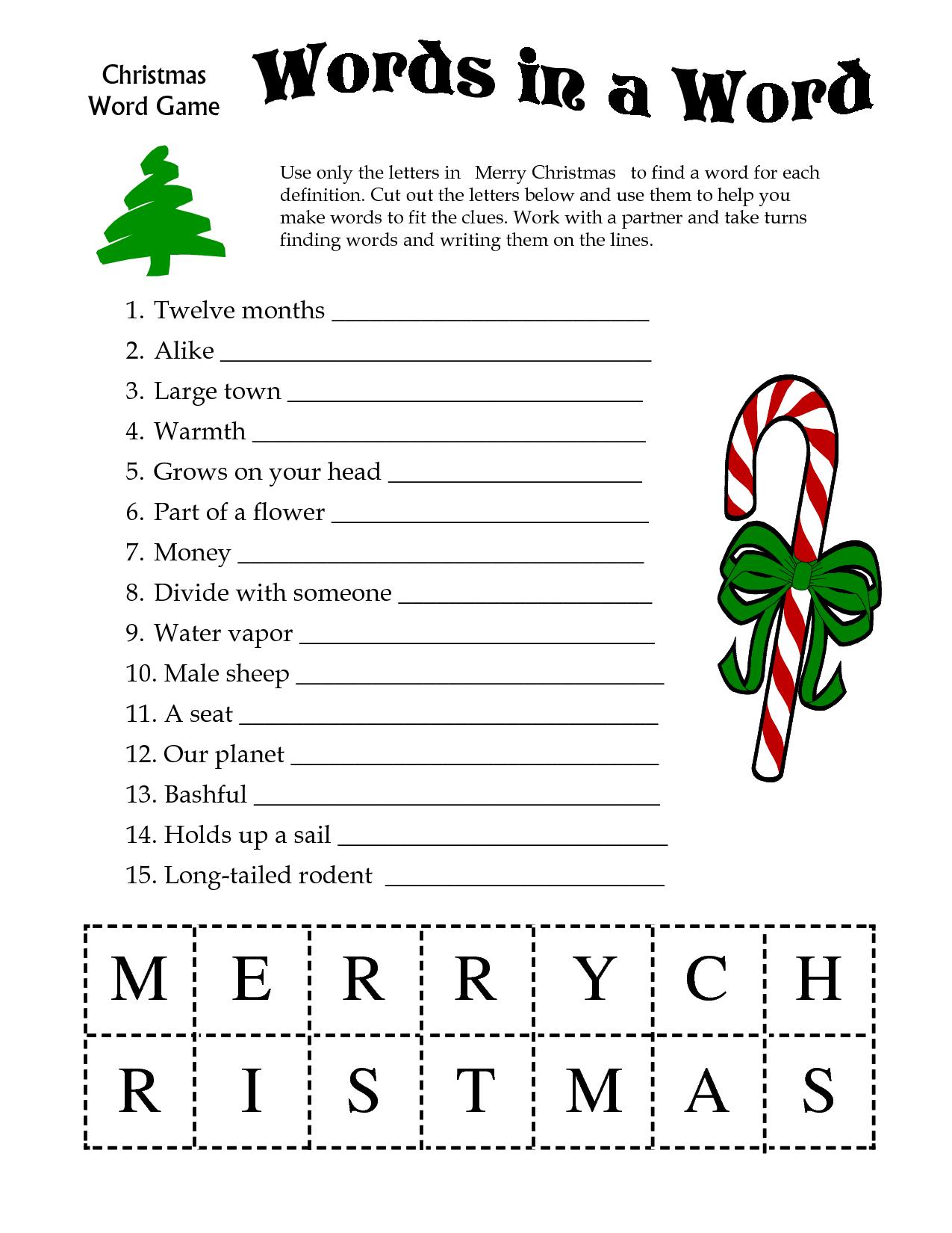 5 Images Of Free Printable Christmas Word Games | Printablee - Free Printable Christmas Word Games
