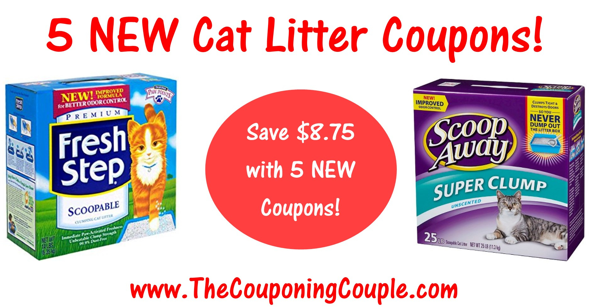 5 New Cat Litter Coupons ~ Save $8.75 On Fresh Step & Scoop Away! - Free Printable Scoop Away Coupons