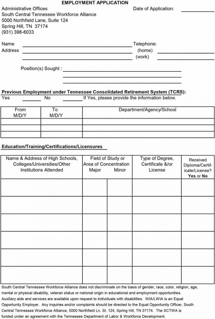 Free Printable General Application For Employment