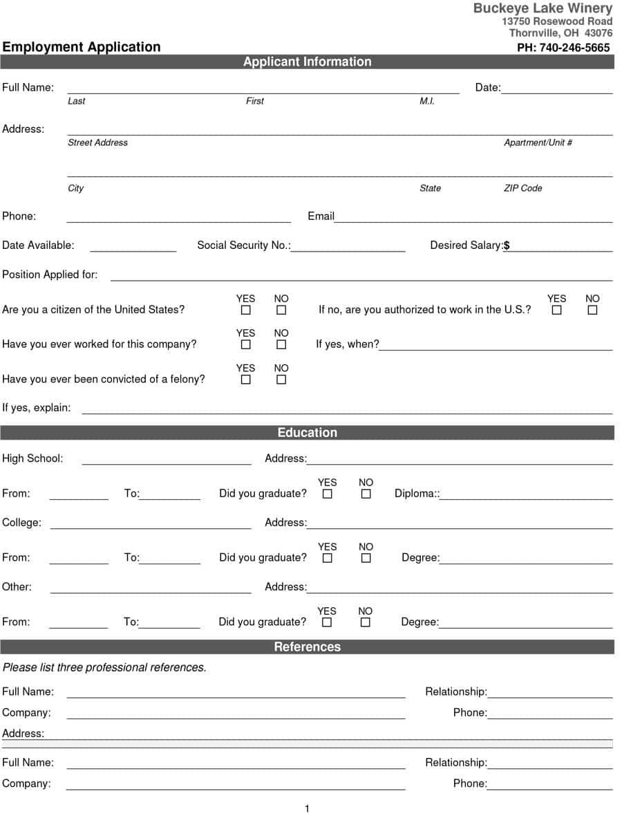 50 Free Employment / Job Application Form Templates [Printable - Free Printable Job Applications Online