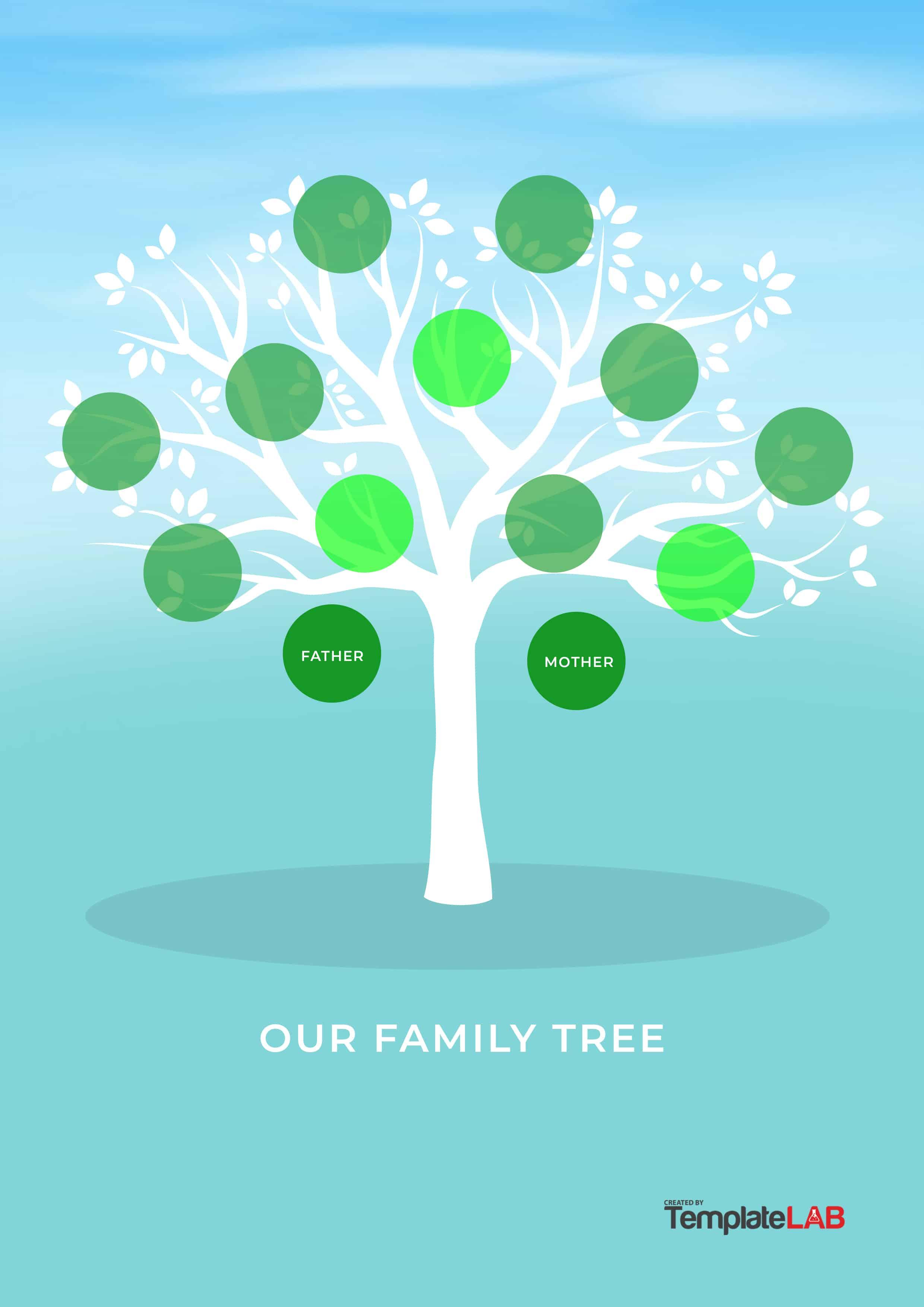50+ Free Family Tree Templates (Word, Excel, Pdf) - Template Lab - Free Printable Family Tree