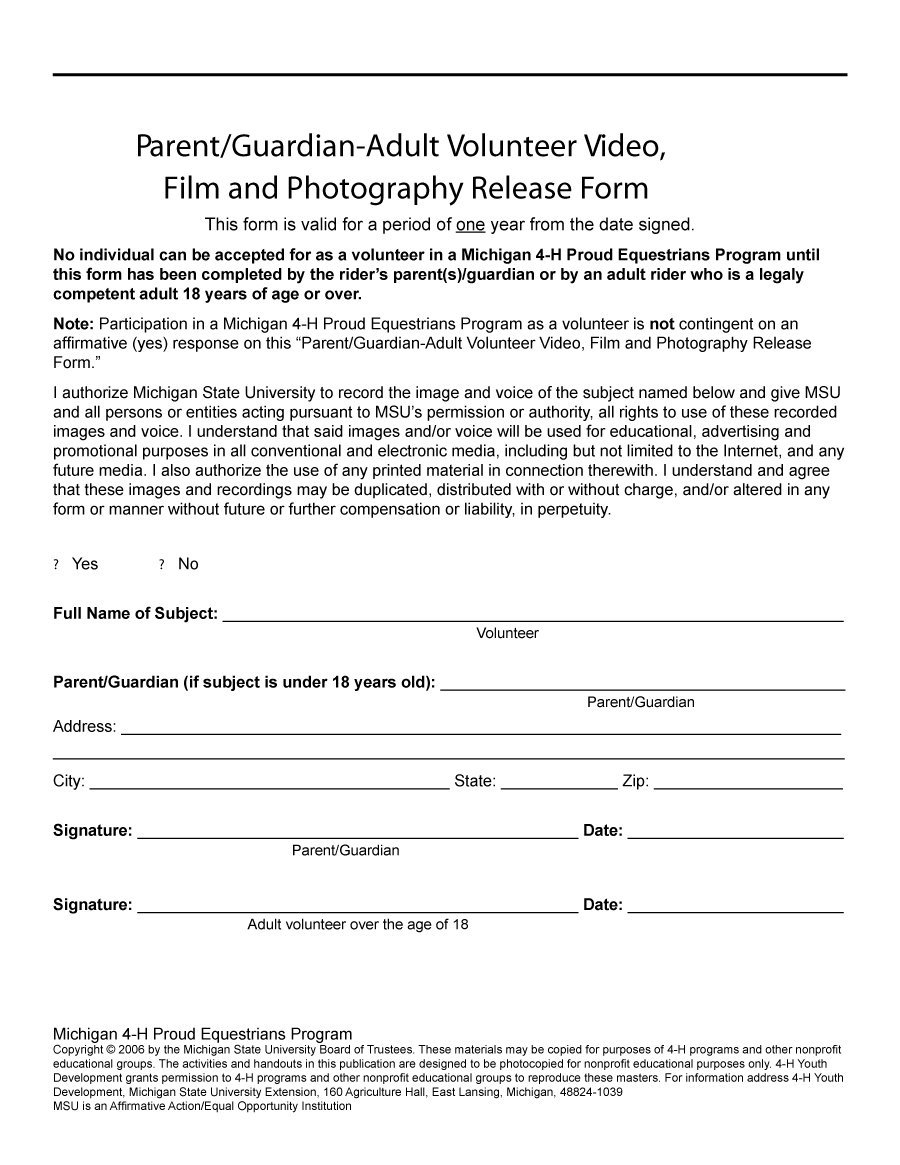 53 Free Photo Release Form Templates [Word, Pdf] - Template Lab - Free Printable Volunteer Forms