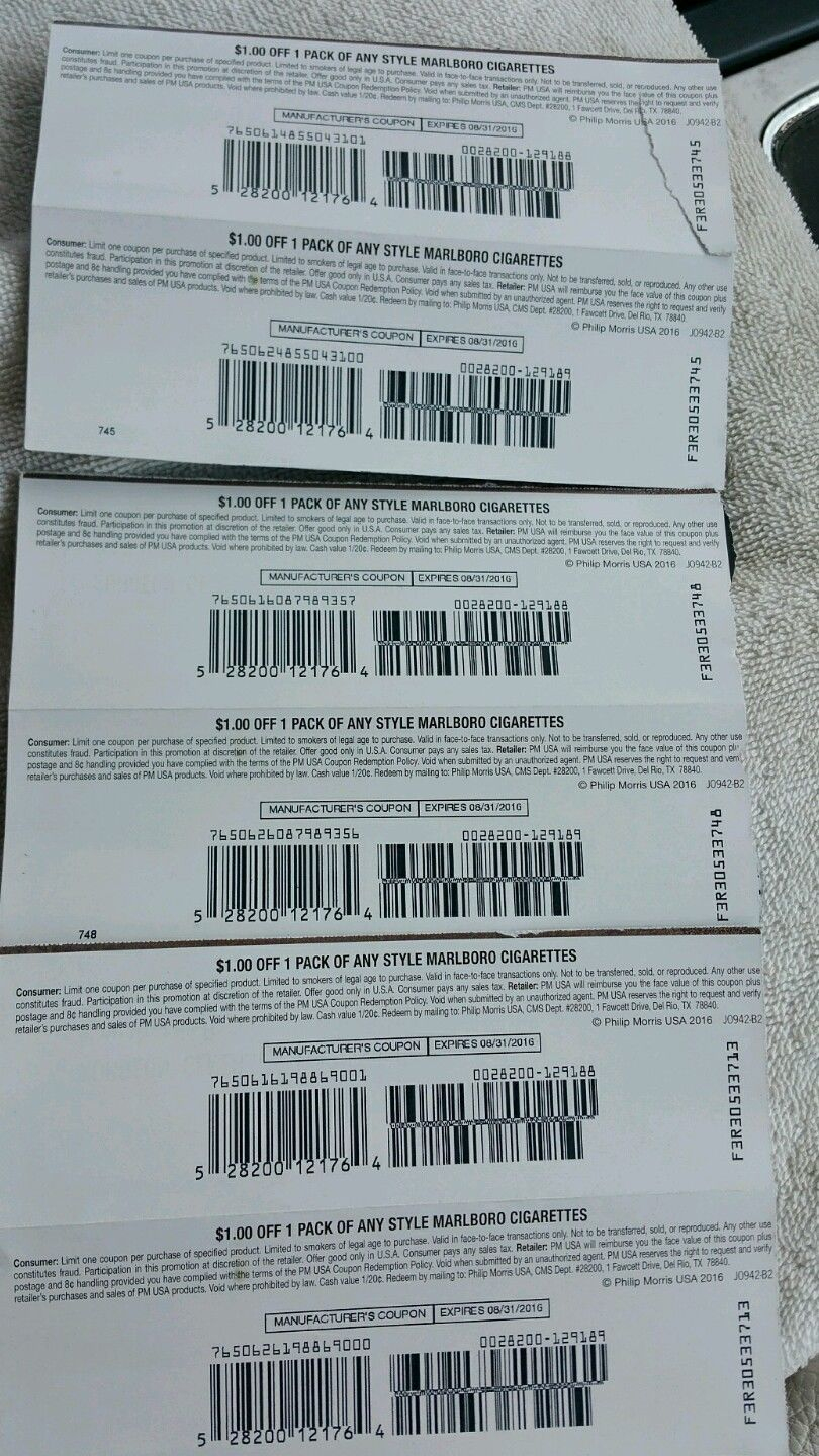 6) $1.00 Off Any Style Marlboro Cigarettes Expires 8/31/2016 - Free Printable Newport Cigarette Coupons